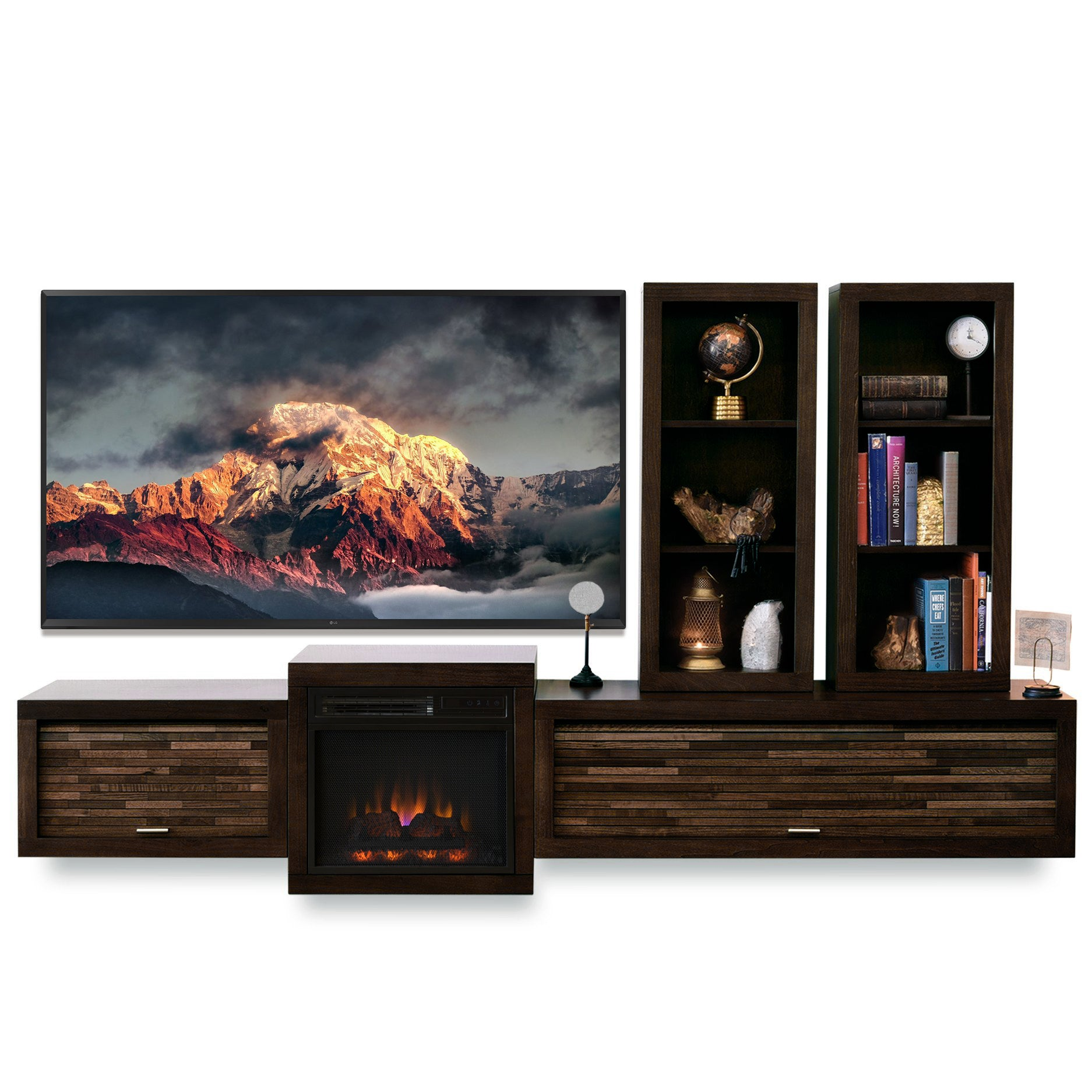 Fireplace TV Stand Floating Entertainment Center Console - ECO GEO Espresso