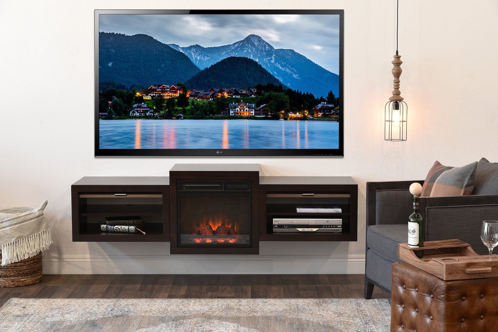 "Save $$ With This Bundle! Fireplace TV Stand For 60 to 70"" TV The Eco Geo is a unique eco-friendly modular entertainment console which is handcrafted of solid Poplar and genuine Maple veneers.   This 3 piece bundle includes our electric fireplace and he"