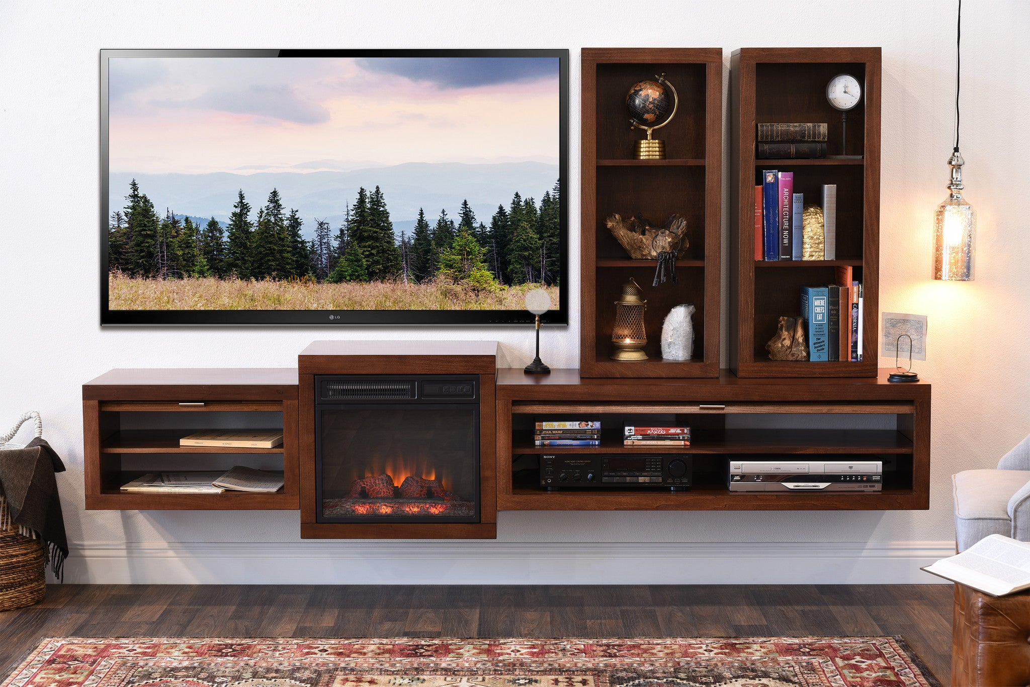 Fireplace Hanging Floating Rustic Hanging Wall Mountable TV Stand Eco Geo Mocha 2048x