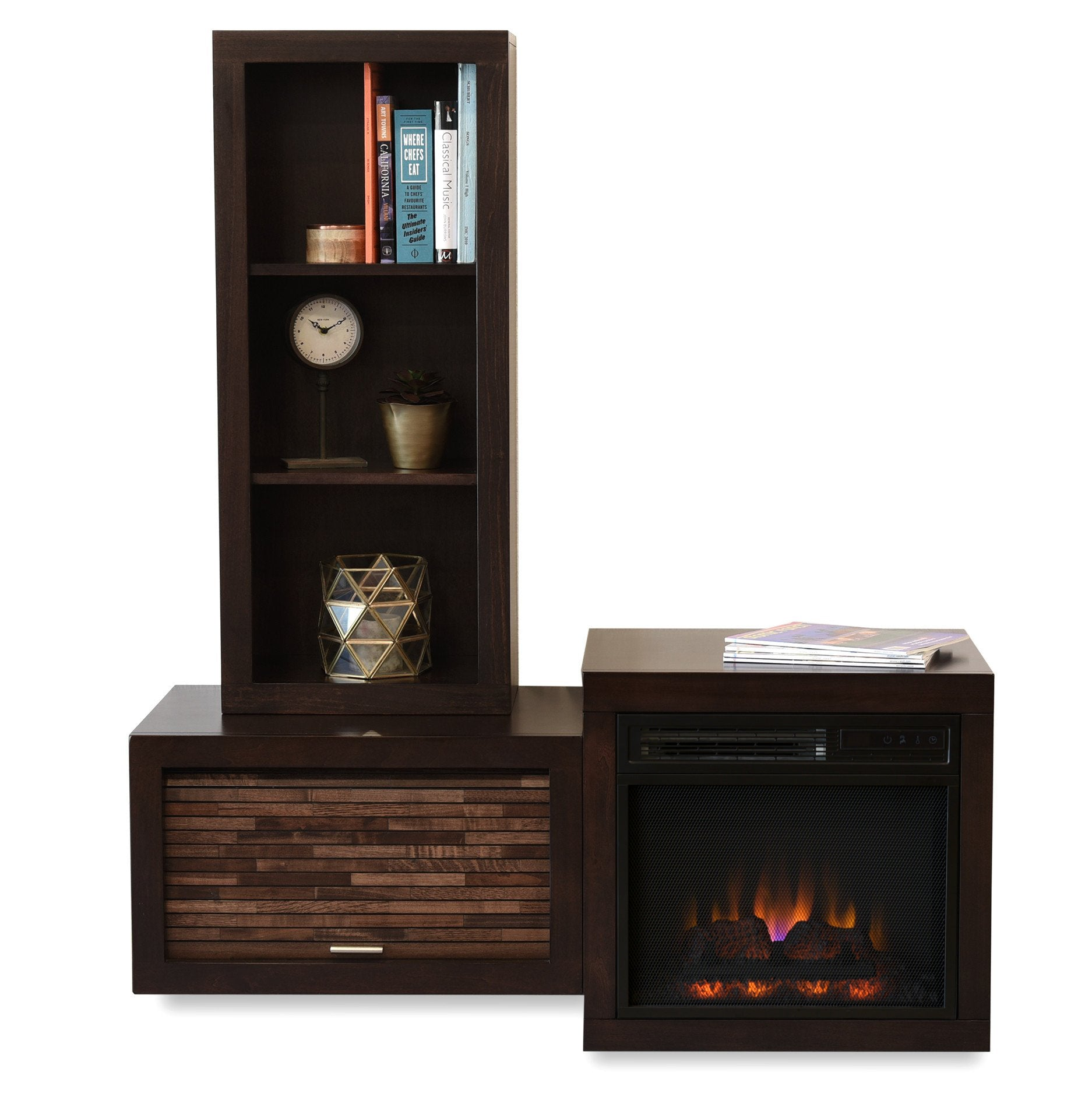 Modern Floating Wall Mount Electric Fireplace Media Console and Bookcase - ECO GEO Espresso