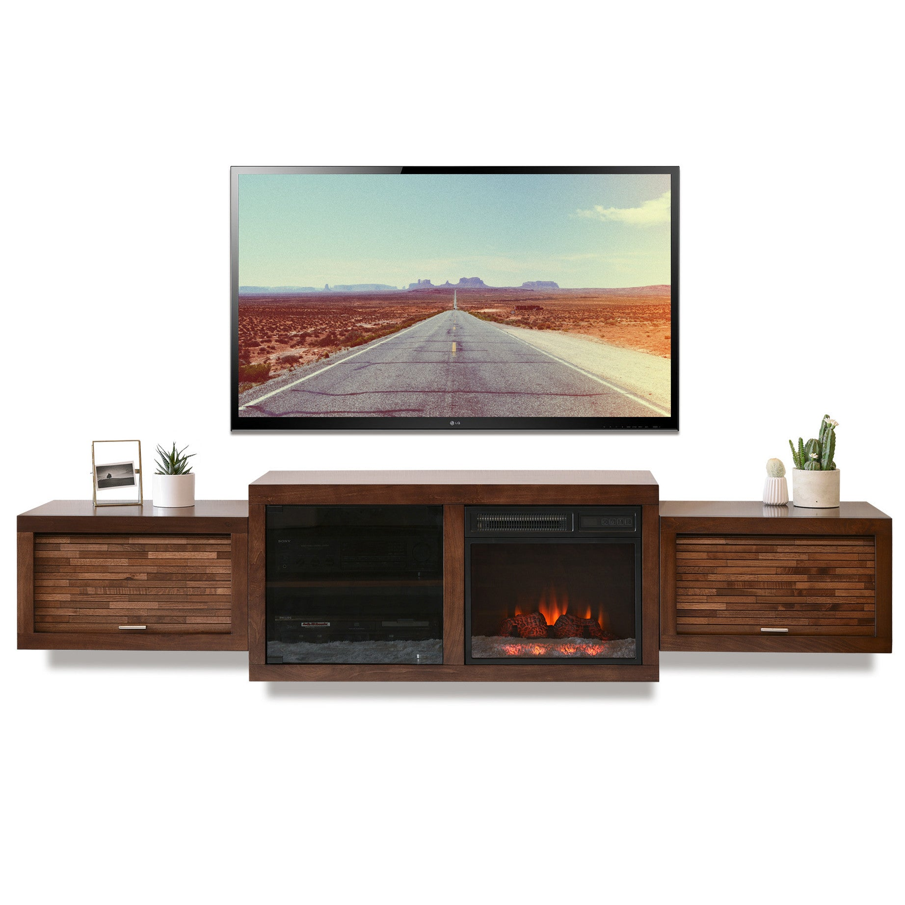 Floating Fireplace Entertainment Wall Tv Console Eco Geo