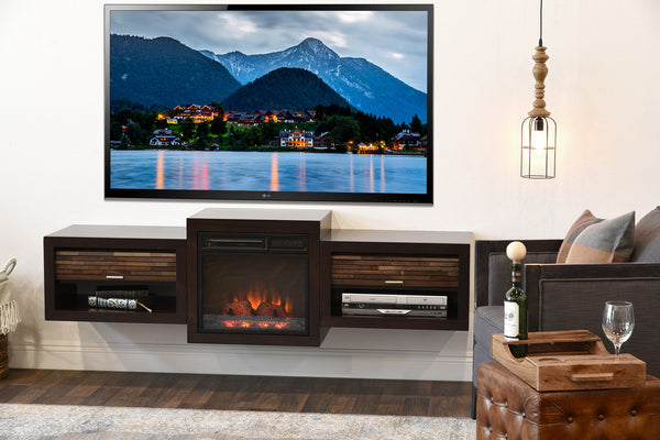 mid century modern retro floating media console with media console with electric fireplace costco media console with fireplace canada