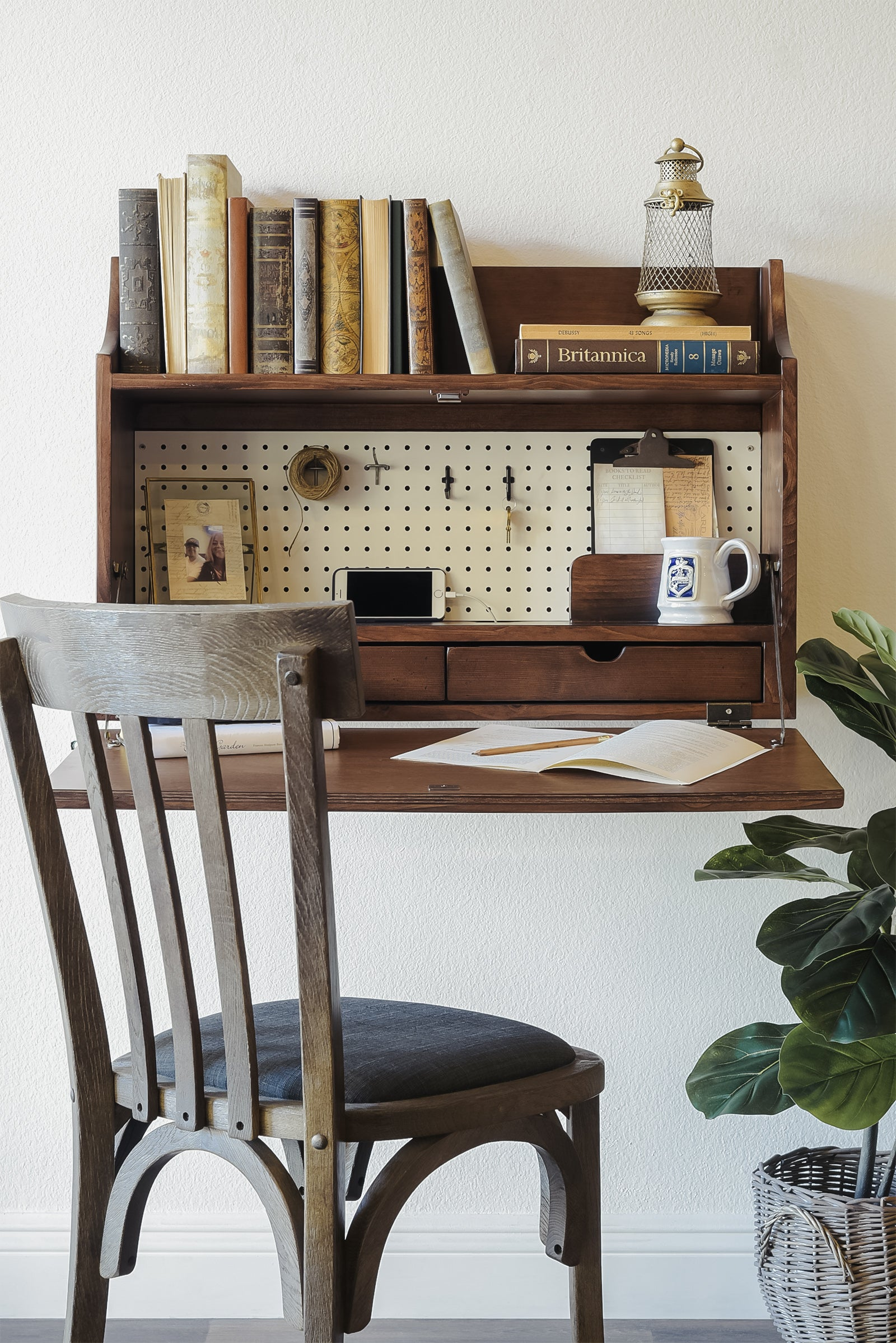 Floating Desk Wall Mount Fold Down Craft Table Workstation - Walnut