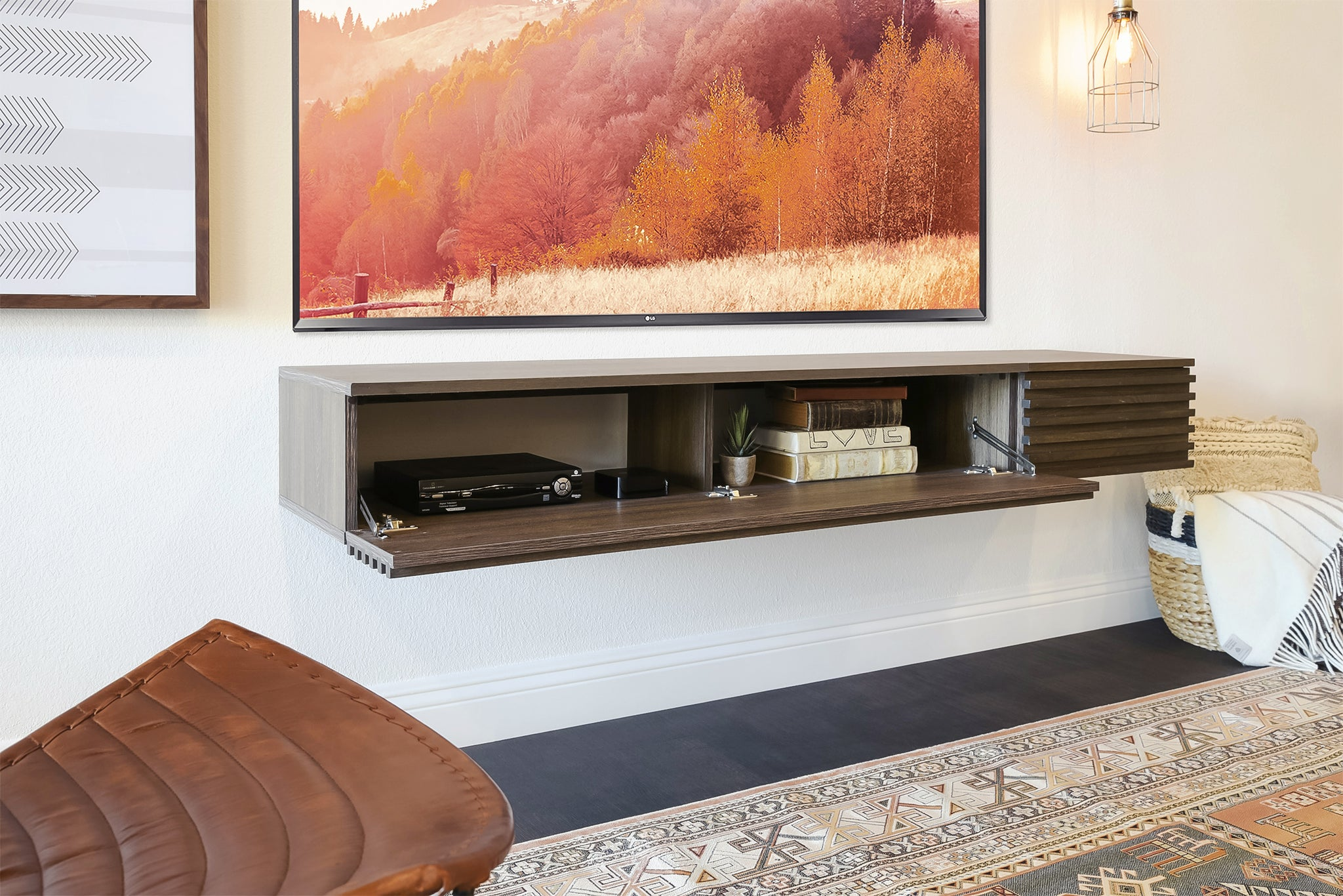 Floating TV Console - Lotus II - Weathered Brown