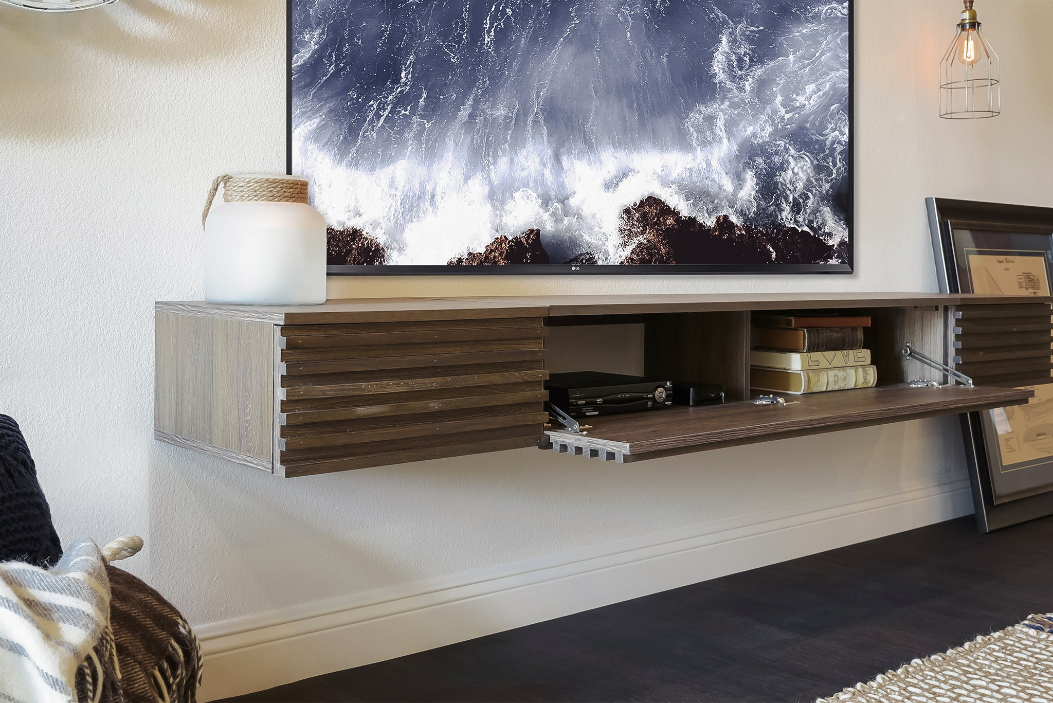 Floating TV Stand Entertainment Center - Weathered Brown - Lotus II