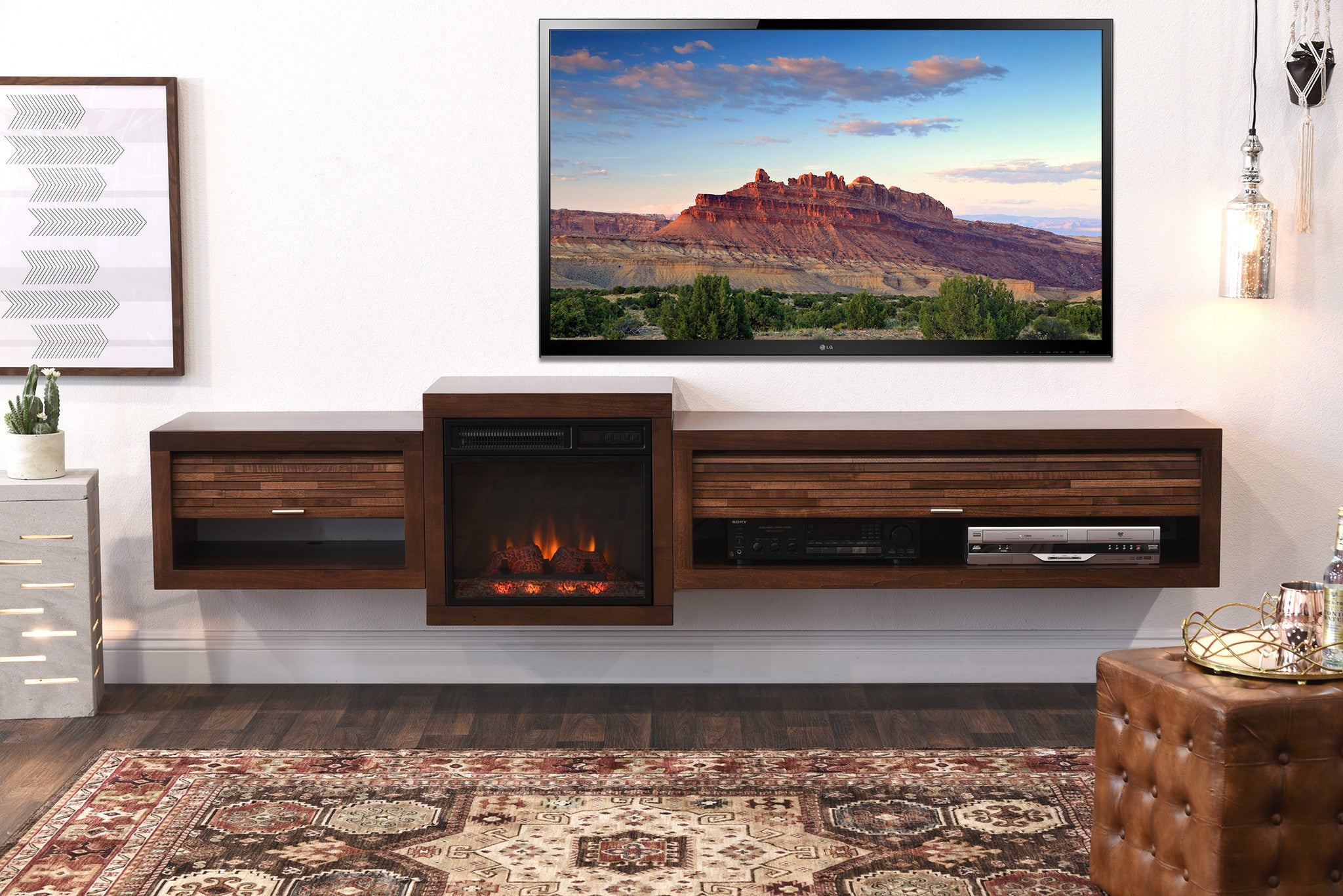 Save $$ With This Bundle! Floating TV Stand With Electric Fireplace The Eco Geo is a unique eco-friendly modular entertainment console which is handcrafted of solid Poplar and genuine Maple veneers.   This bundle includes our electric fireplace and heating unit! The fireplace unit features a built in heater to creat