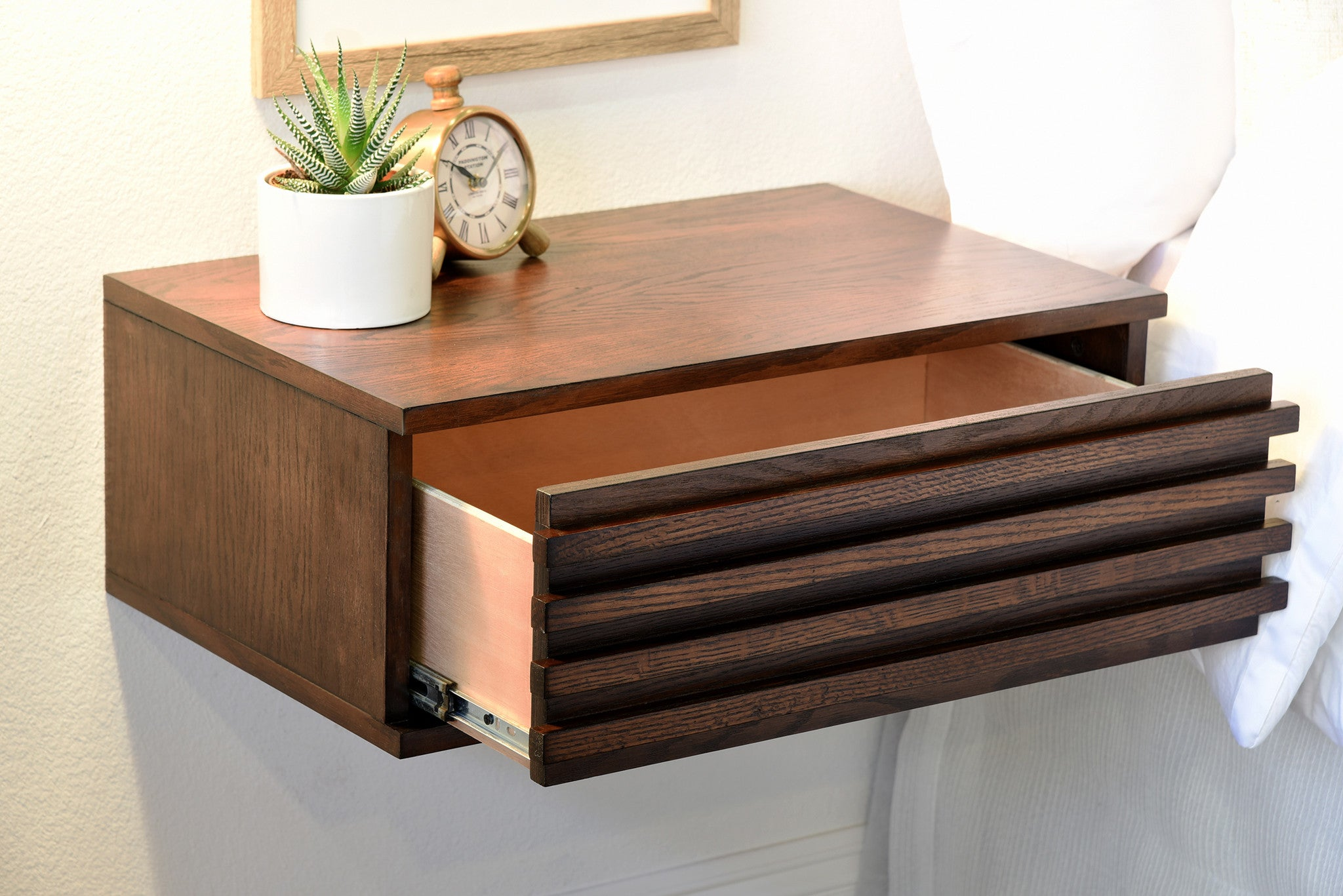 Awesome Pair Of Floating Nightstand Drawers   Lotus   Russet Brown