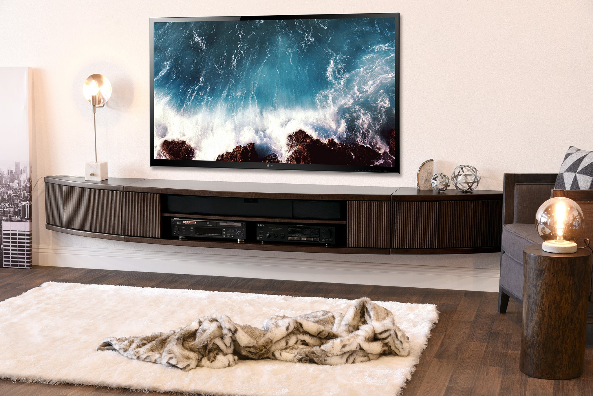 wall mount floating entertainment center tv stand arc espresso - Tv Stands Entertainment Centers