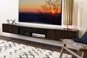 Floating Wall Mount Entertainment Center TV Stand - Curve - 3 Piece - Espresso