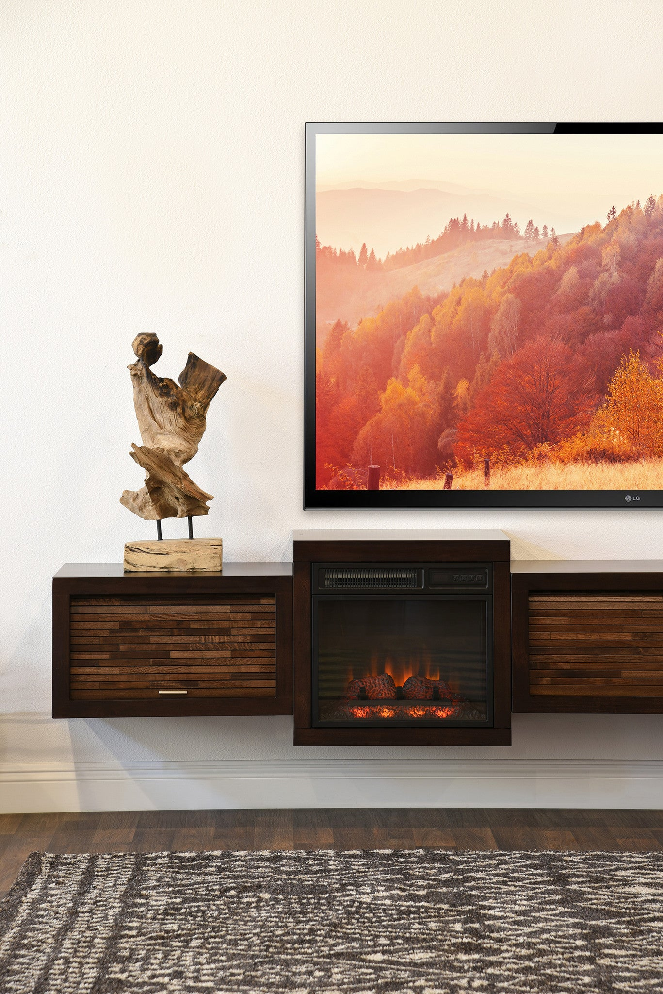 Floating Fireplace Wall Mount Tv Stand Eco Geo Espresso