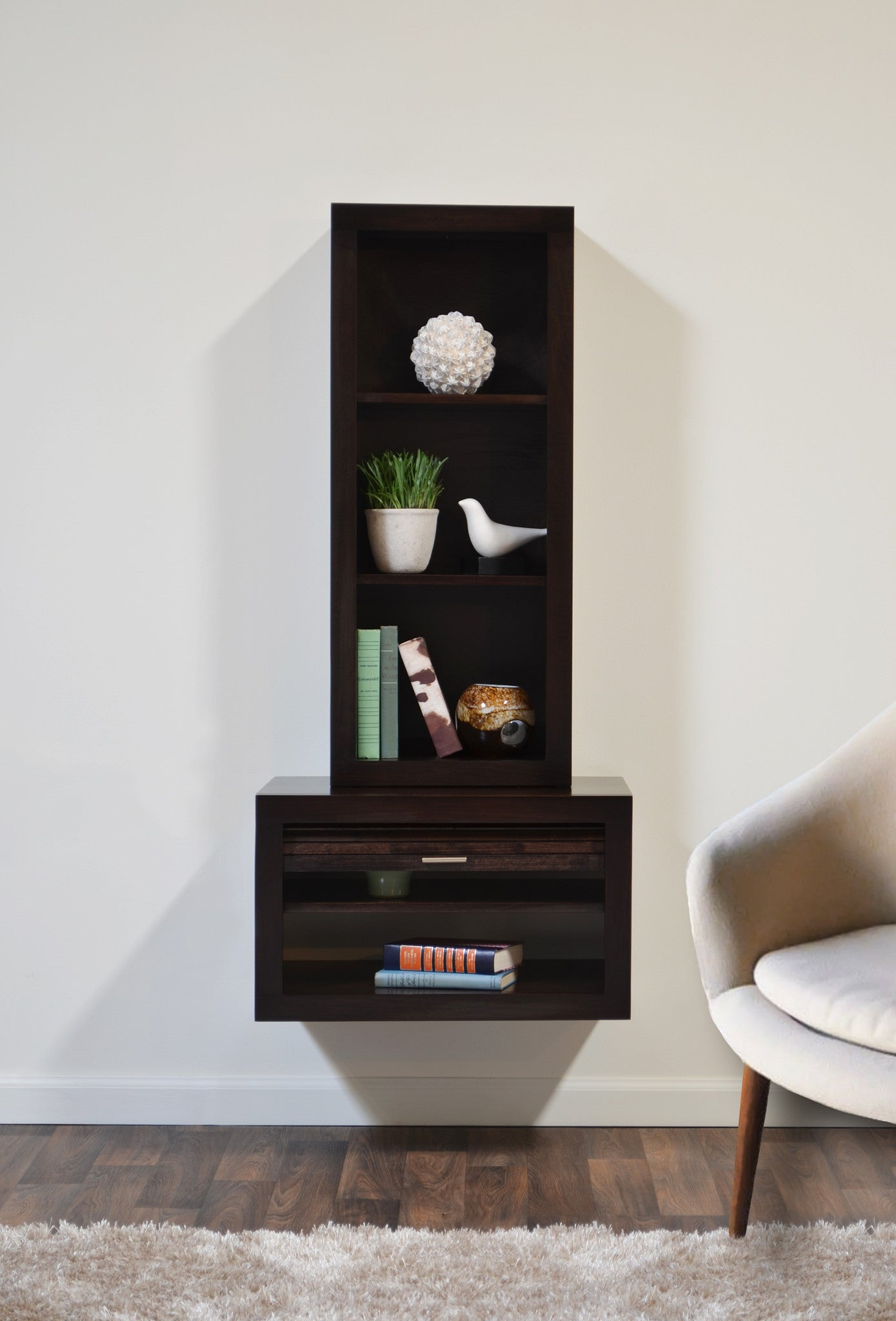 floating end table & bookcase - eco geo espresso - woodwaves