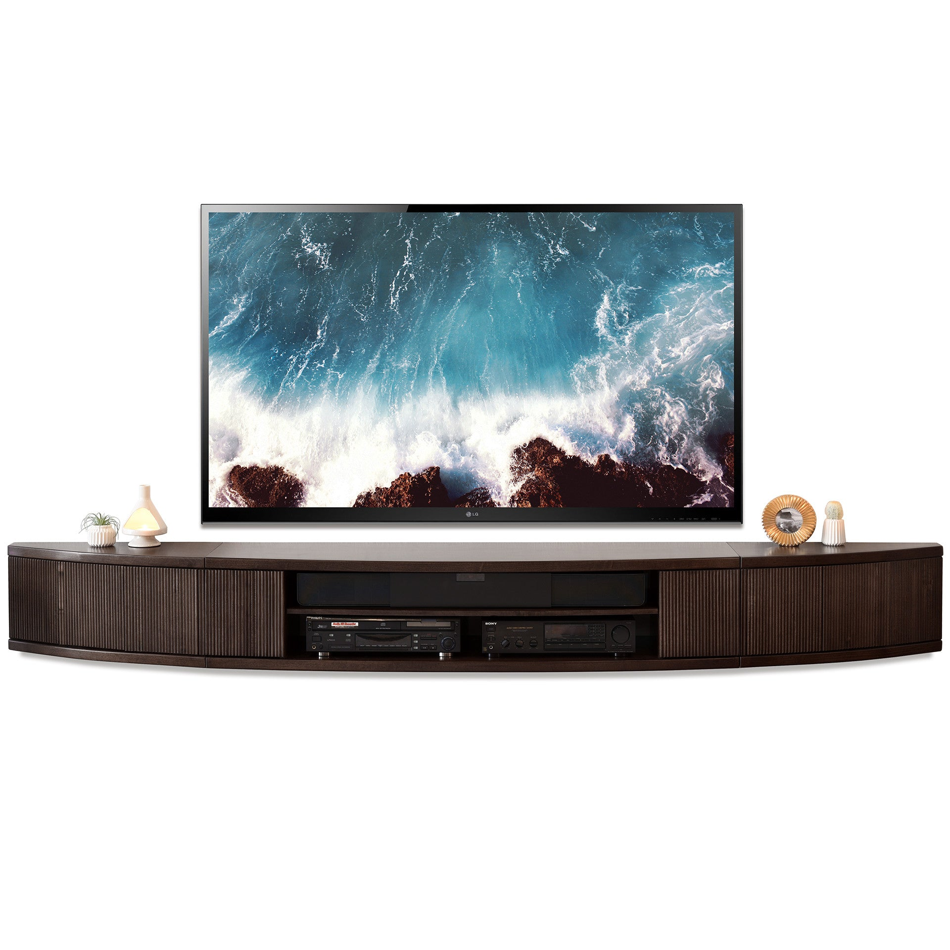 wall mount floating center tv stand arc espresso