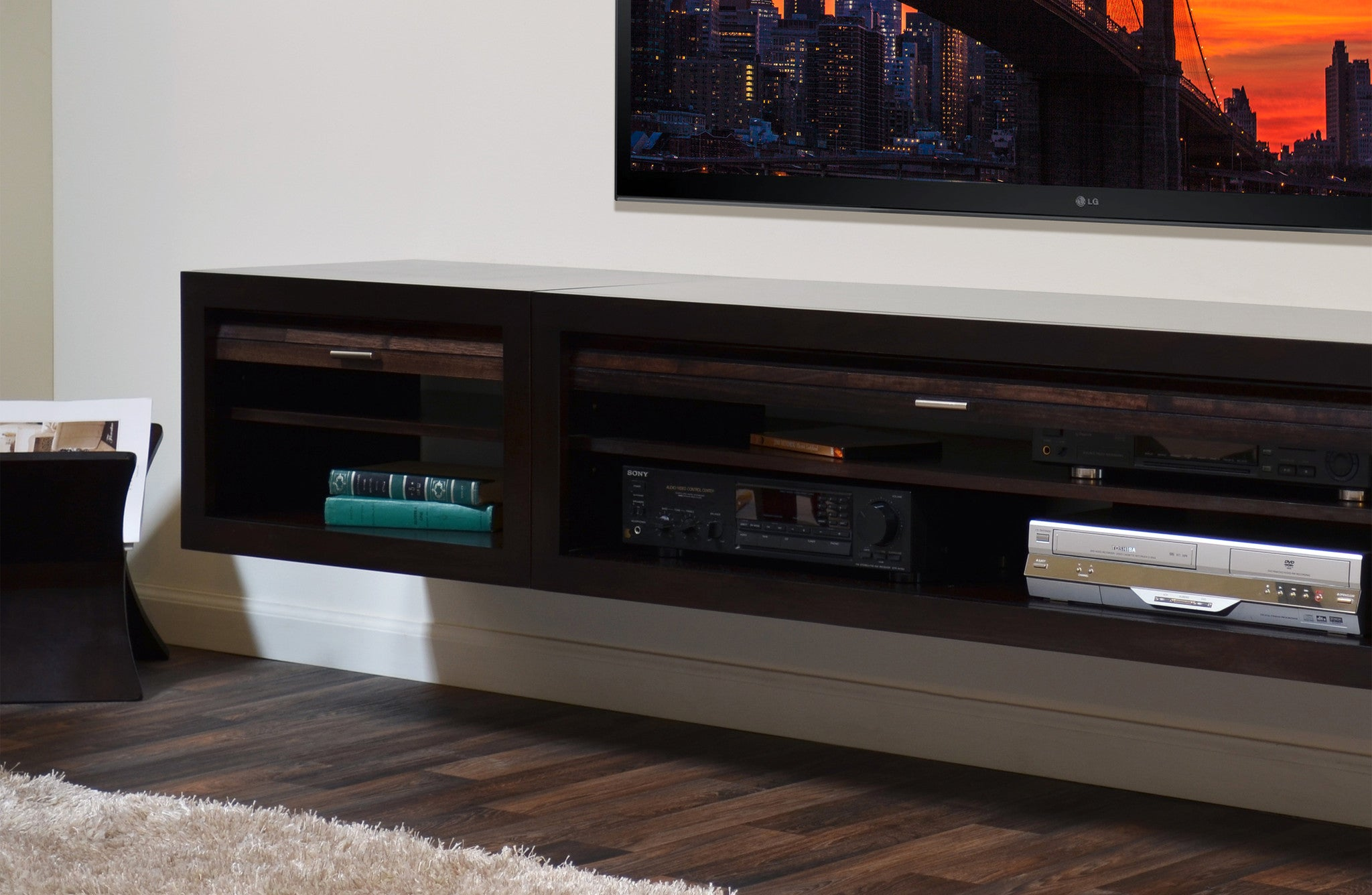 Floating tv stand entertainment console eco geo espresso 3 piece b woodwaves for Floating tv stand living room furniture