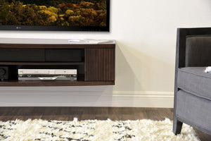 Floating Media TV Stand - Curve Espresso - 2 Piece + Bookcase