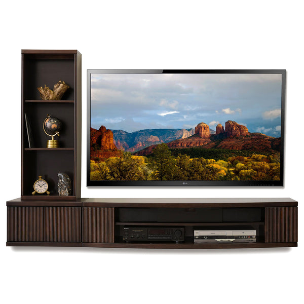 Floating Media Tv Stand Curve Espresso 2 Piece