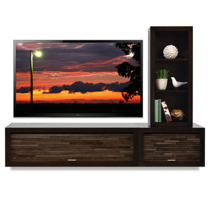 Hanging Wall Mount Entertainment Center Floating TV Stand - ECO GEO Espresso 2PC & Bookcase