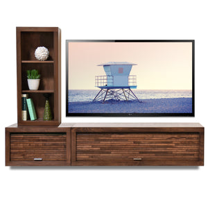 Wall Mount Entertainment Center TV Console - ECO GEO Mocha 2PC & Bookcase
