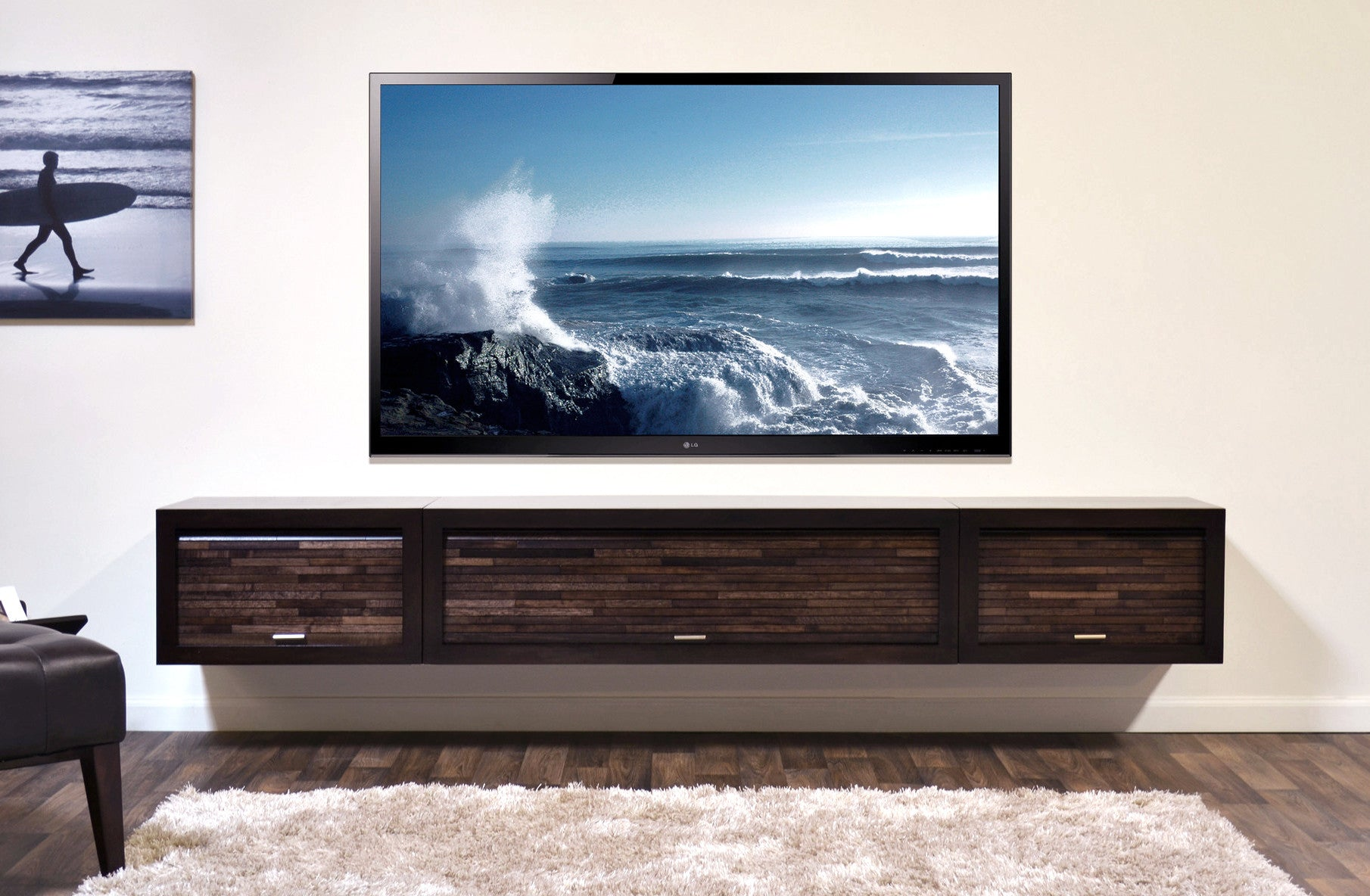 floating tv stand entertainment center eco geo espresso - Tv Stands Entertainment Centers