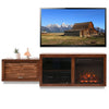 Floating Mid Century Modern Fireplace TV Stand Console - ECO GEO Mocha