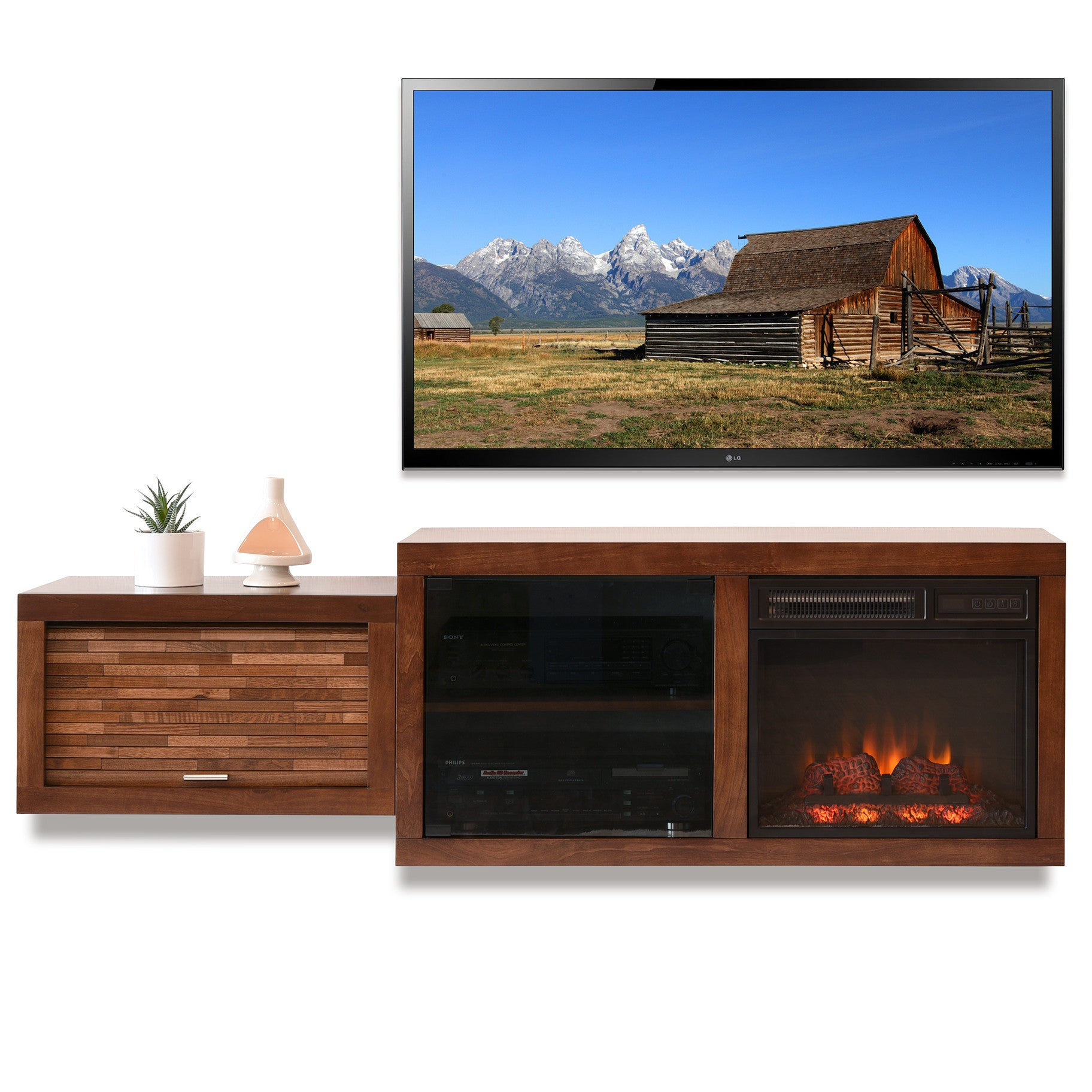 floating mid century modern fireplace tv stand console eco geo