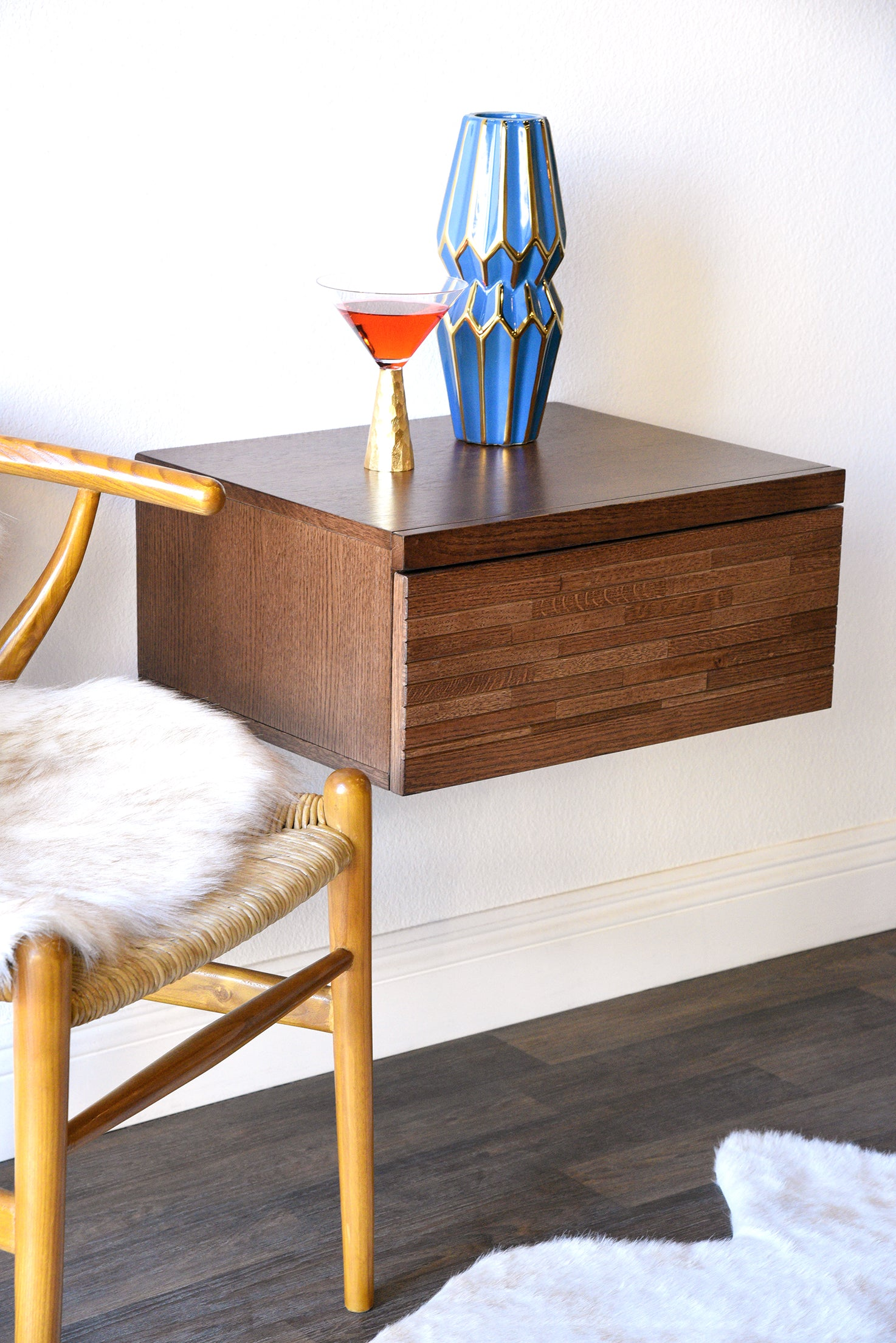 Wall Mounted Drawer Floating Mid Century Modern Nightstand   Mayan Mocha