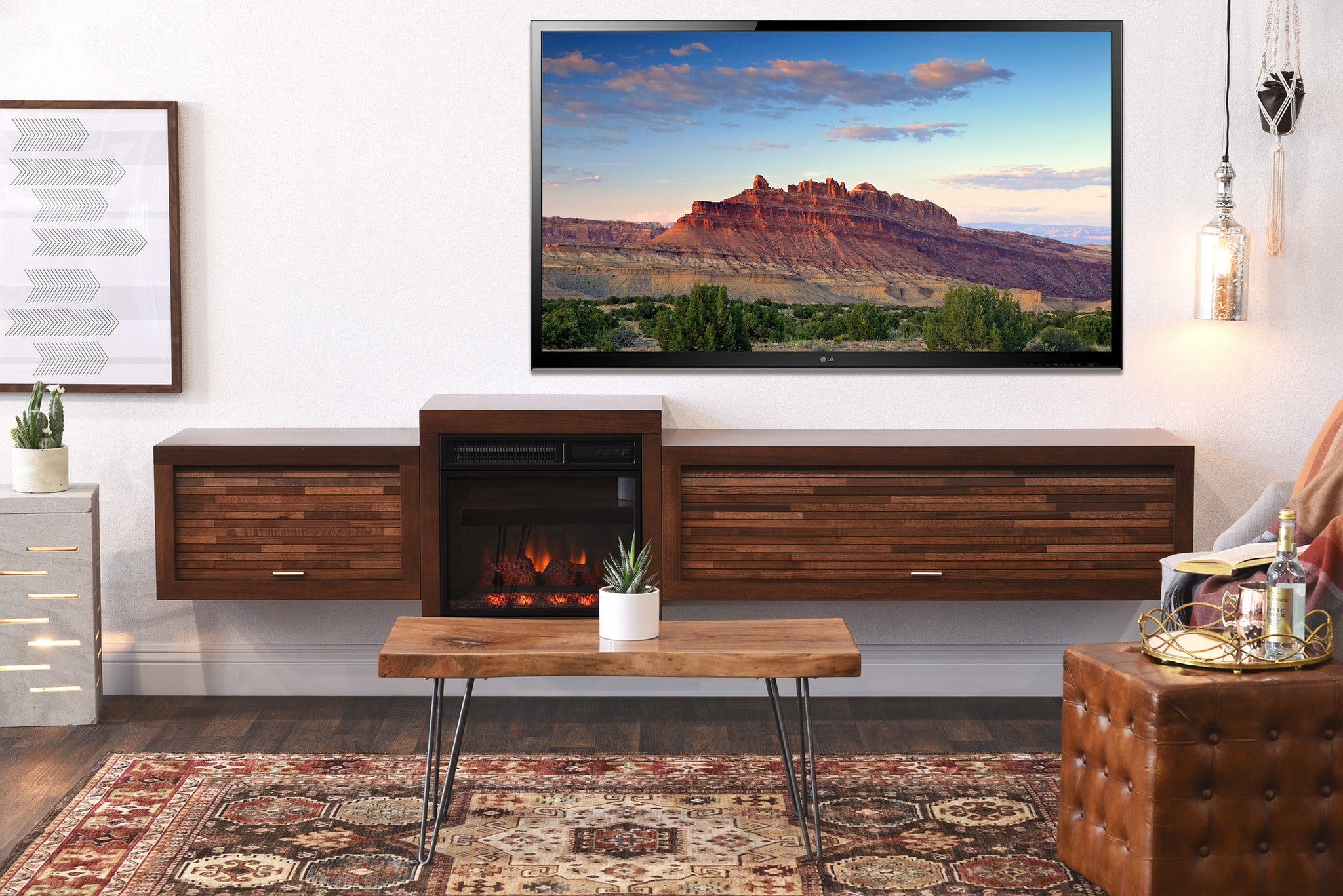 Floating Tv Stand Floating Tv Stand With Fireplace Eco Geo Mocha Woodwaves
