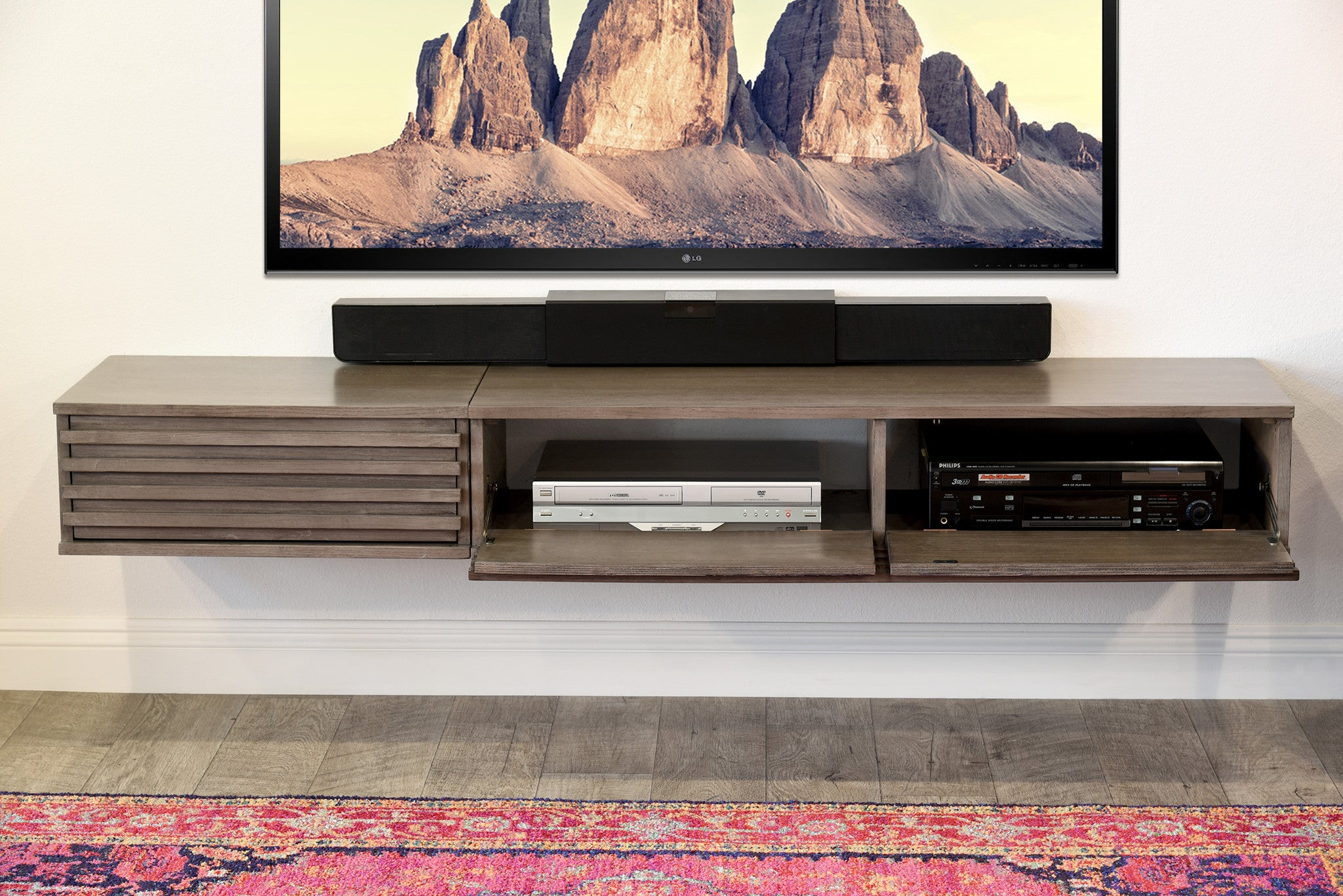 Floating TV Console Lotus 2 Piece Driftwood Gray Woodwaves