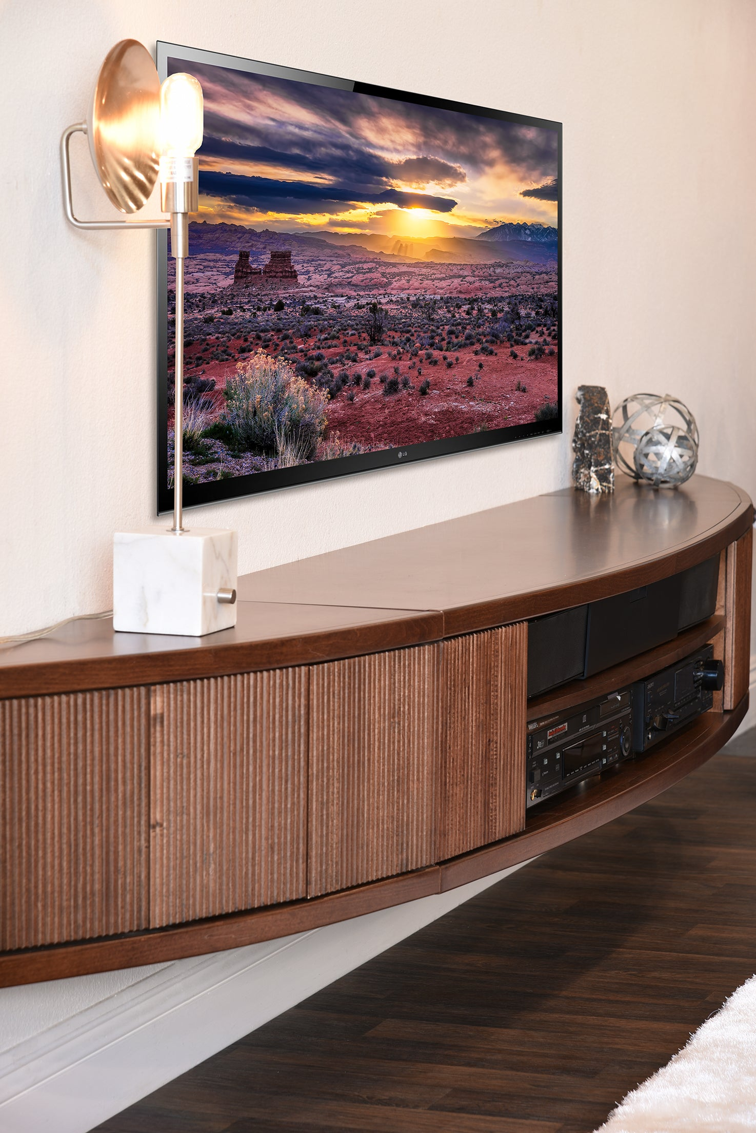 Floating TV Stand Mid Century Modern Entertainment Center - Arc - Mocha