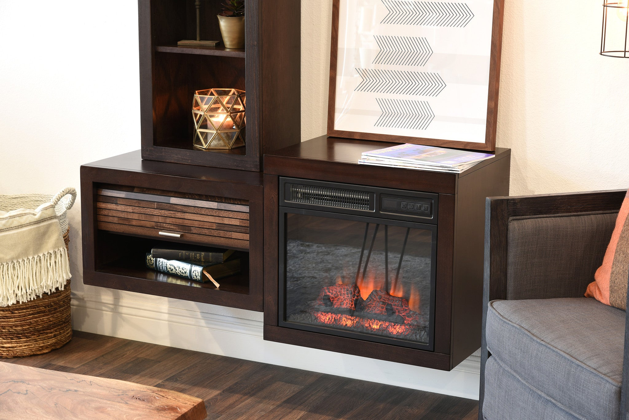 Modern Floating Wall Mount Electric Fireplace Media Console And Bookcase    ECO GEO Espresso  Fireplace Media Stand