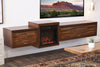 Floating TV Stand With Fireplace - ECO GEO Mocha