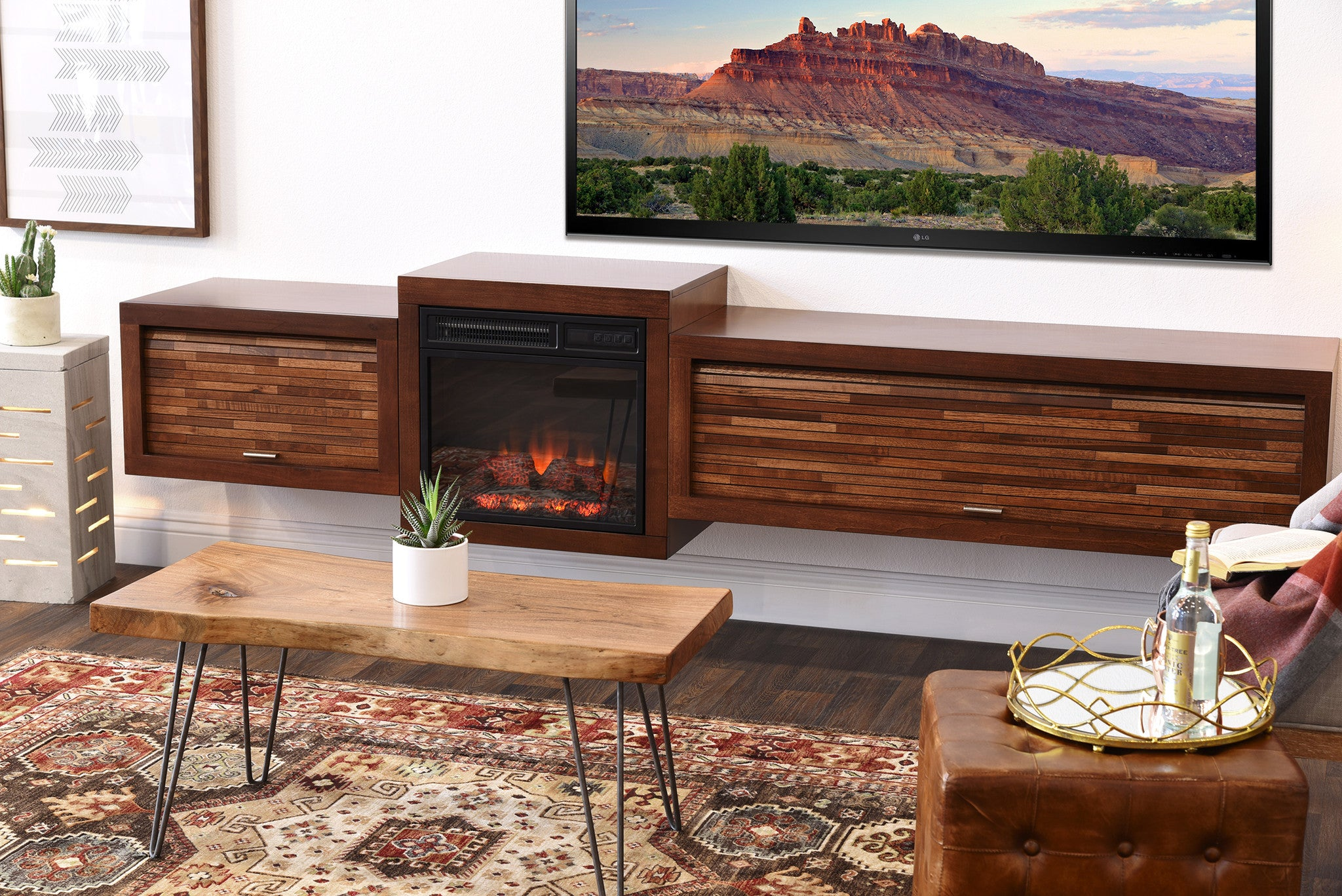 Superieur Floating TV Stand With Fireplace   ECO GEO Mocha
