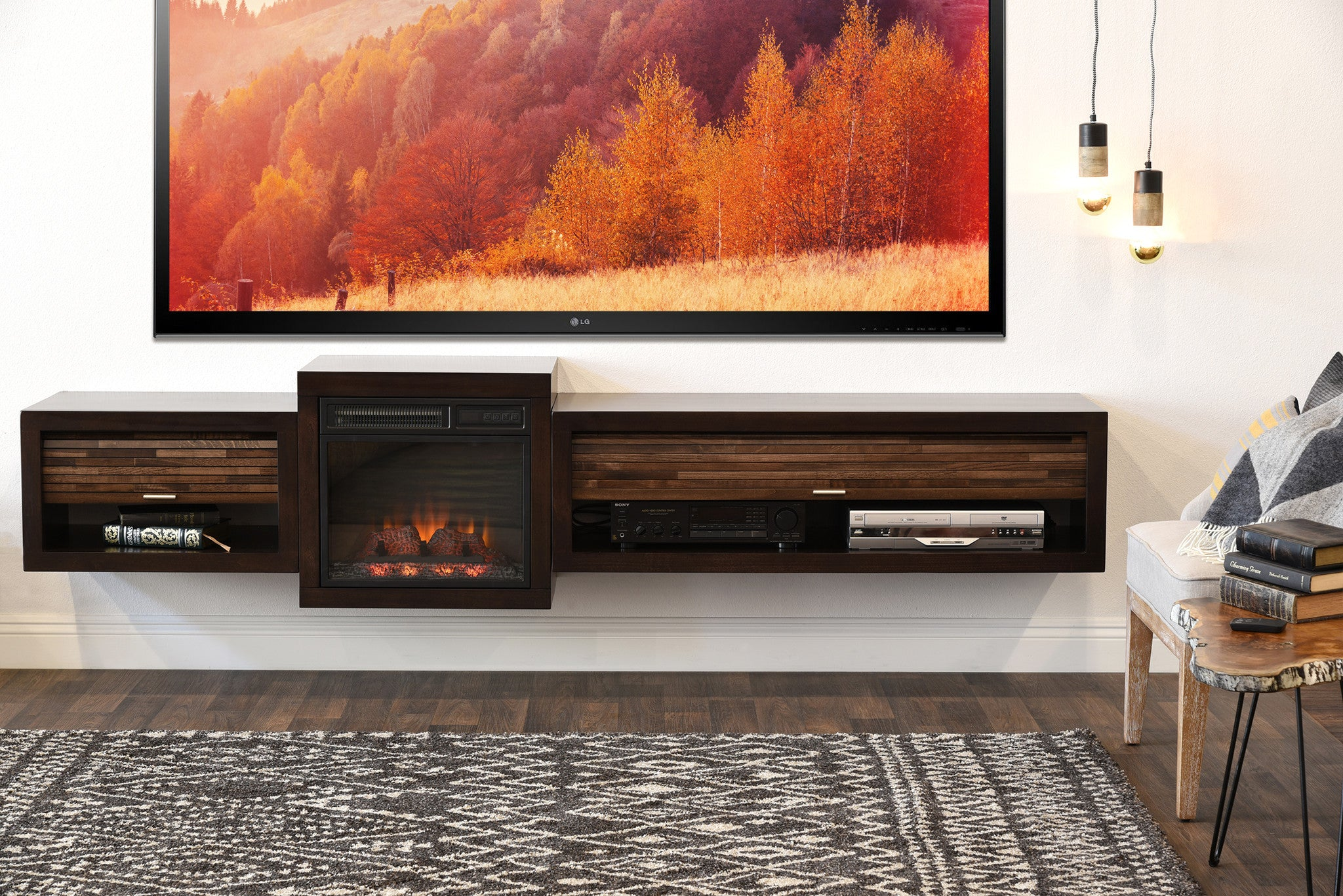 Minimalist Entertainment Center | Floating Fireplace Wall Mount Tv Stand Eco Geo Espresso Woodwaves