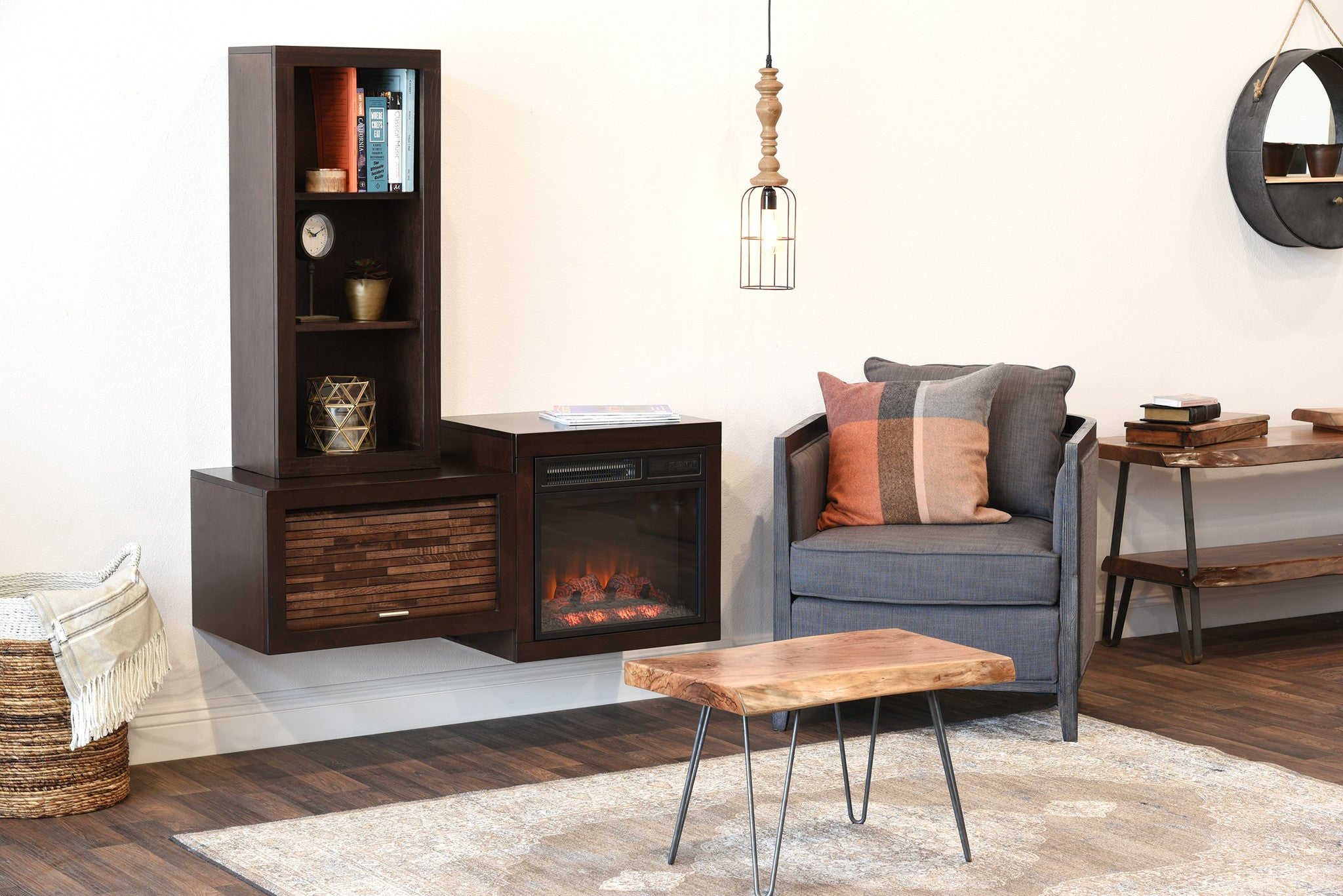 modern floating wall mount electric fireplace media console and bookcase eco geo espresso