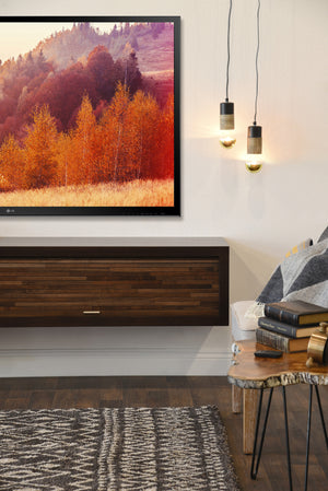 Floating Fireplace Wall Mount TV Stand - ECO GEO Espresso
