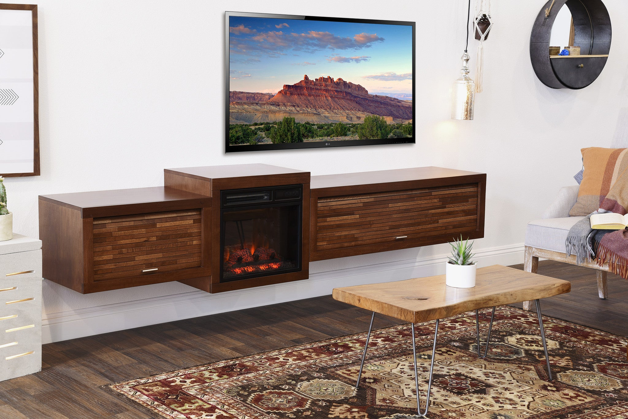 Wall Hanging Entertainment Center floating tv stand with fireplace - eco geo mocha - woodwaves