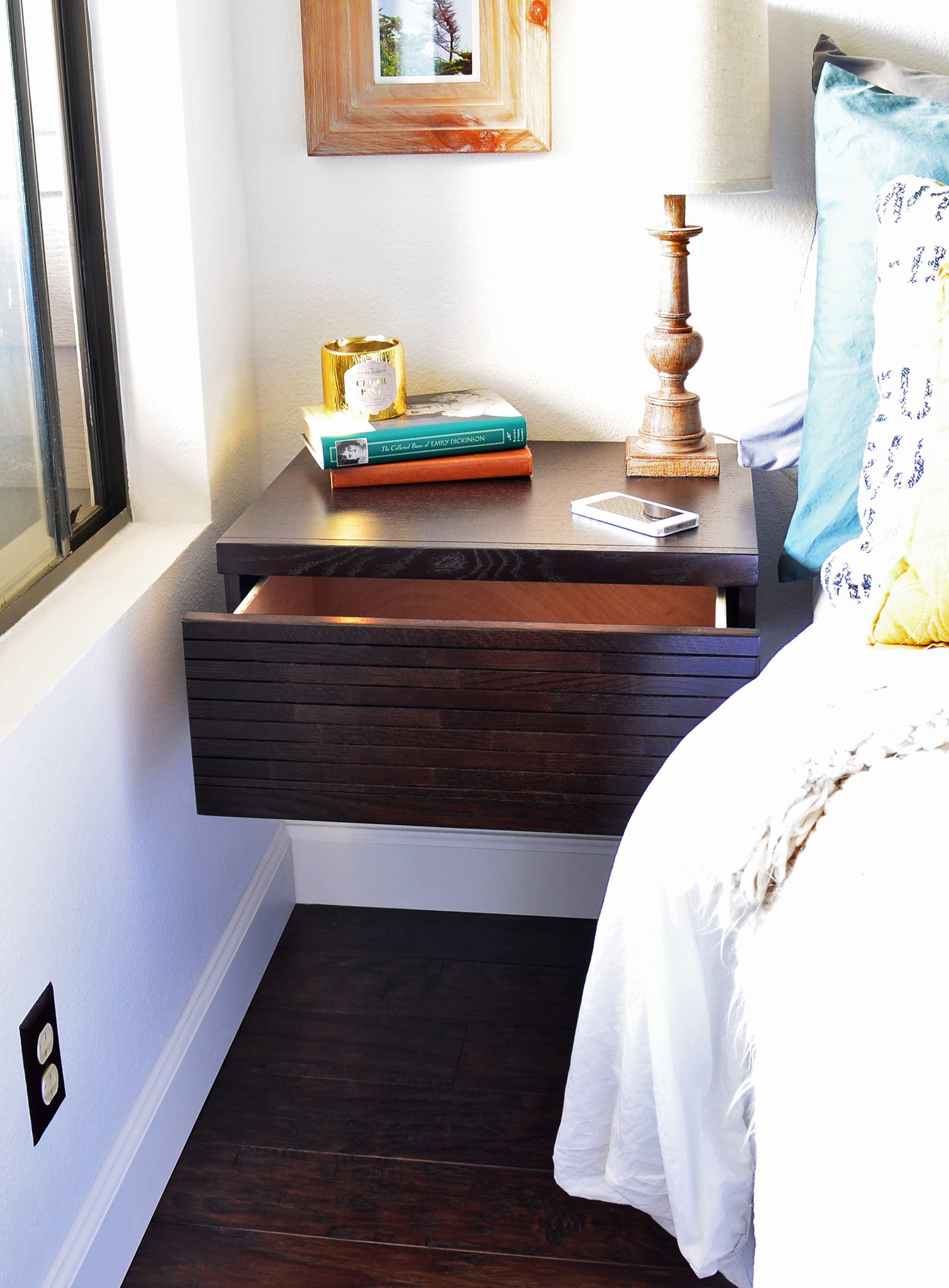 wall mounted nightstands floating drawers mayan espresso. Black Bedroom Furniture Sets. Home Design Ideas