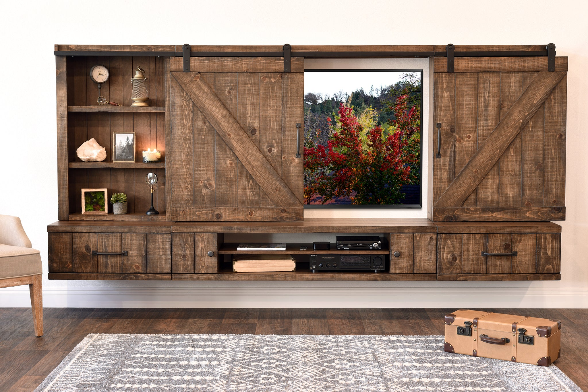 farmhouse barn door entertainment center floating tv stand. Black Bedroom Furniture Sets. Home Design Ideas