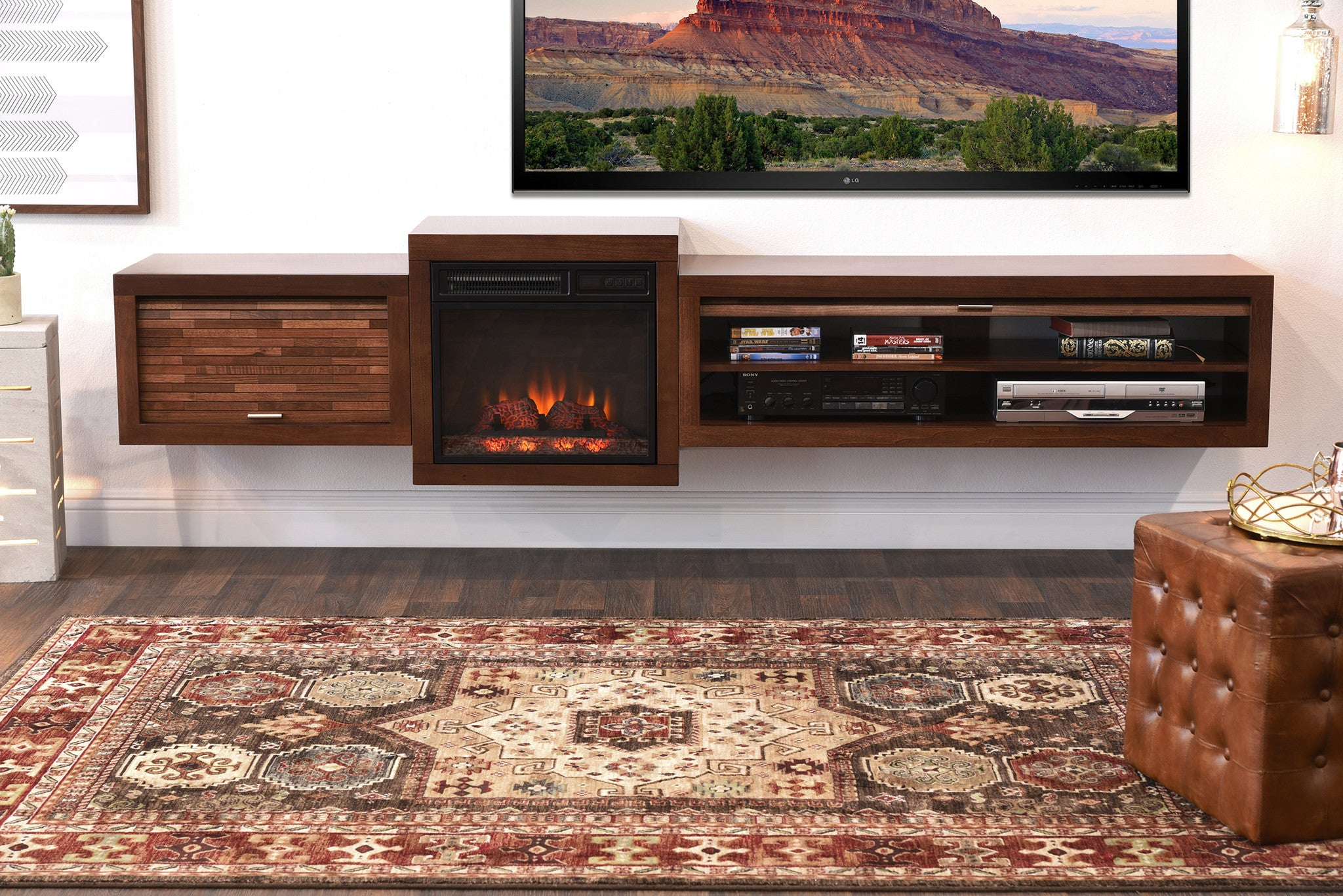 Save $$ With This Bundle! Floating TV Stand With Electric Fireplace The Eco Geo is a unique eco-friendly modular entertainment console which is handcrafted of solid Poplar and genuine Maple veneers.   This bundle includes our electric fireplace and hea