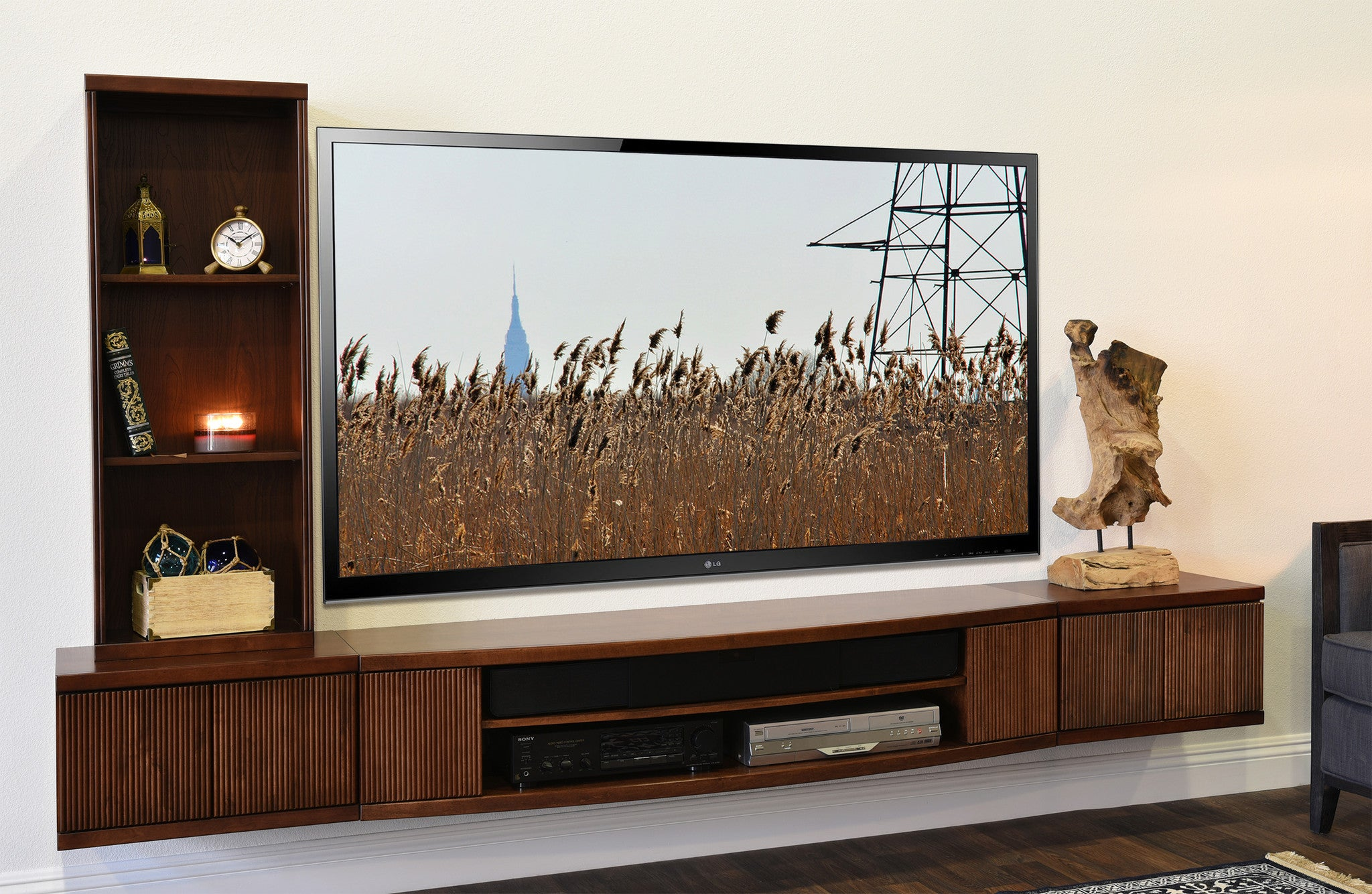 Finest Floating TV Stand Entertainment Center Console - Curve Mocha - 3  OB02