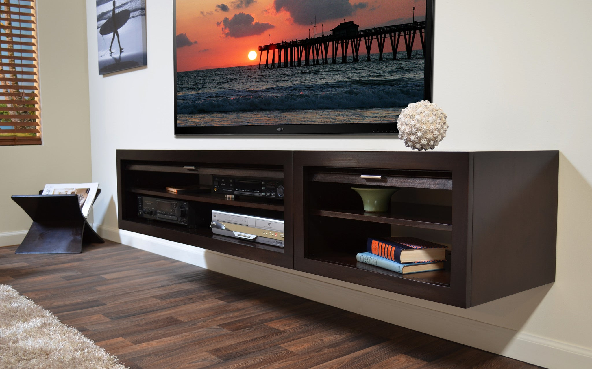 Floating entertainment stand eco geo espresso 2pc for Floating entertainment center ikea