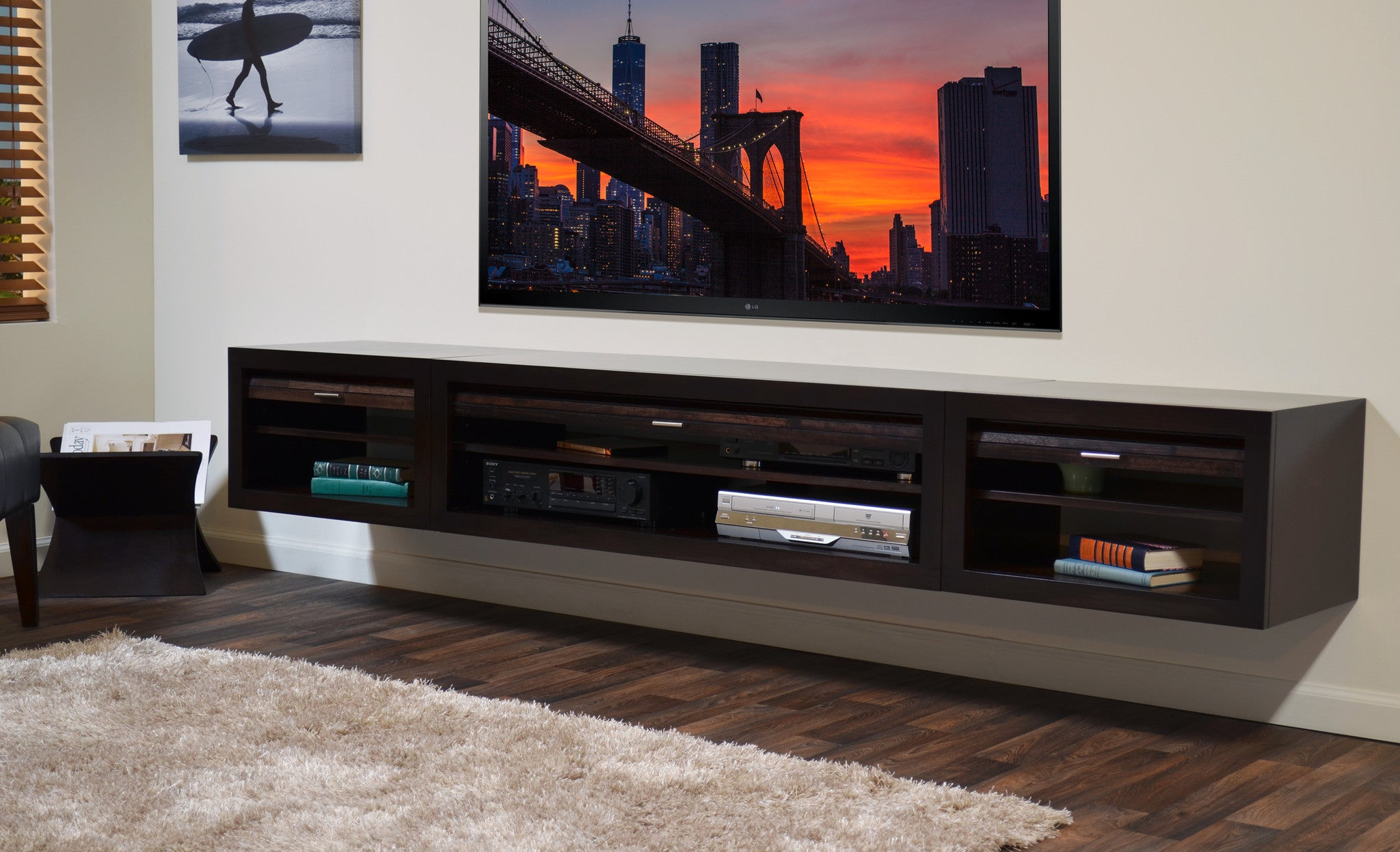 Floating Wall Mount Entertainment Center TV Stand - Curve - 3 ...