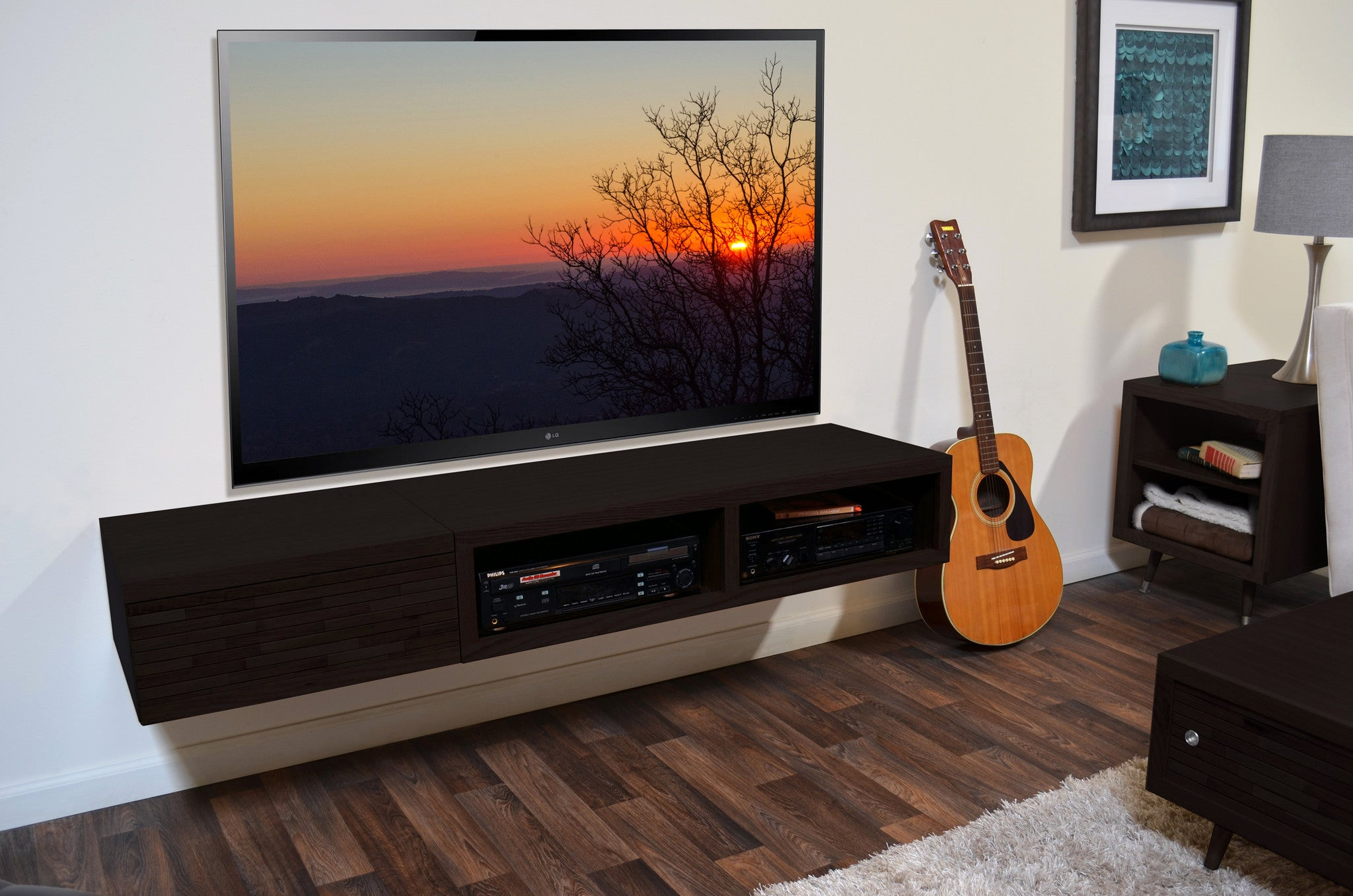 wall mounted floating tv stands page 2 woodwaves. Black Bedroom Furniture Sets. Home Design Ideas
