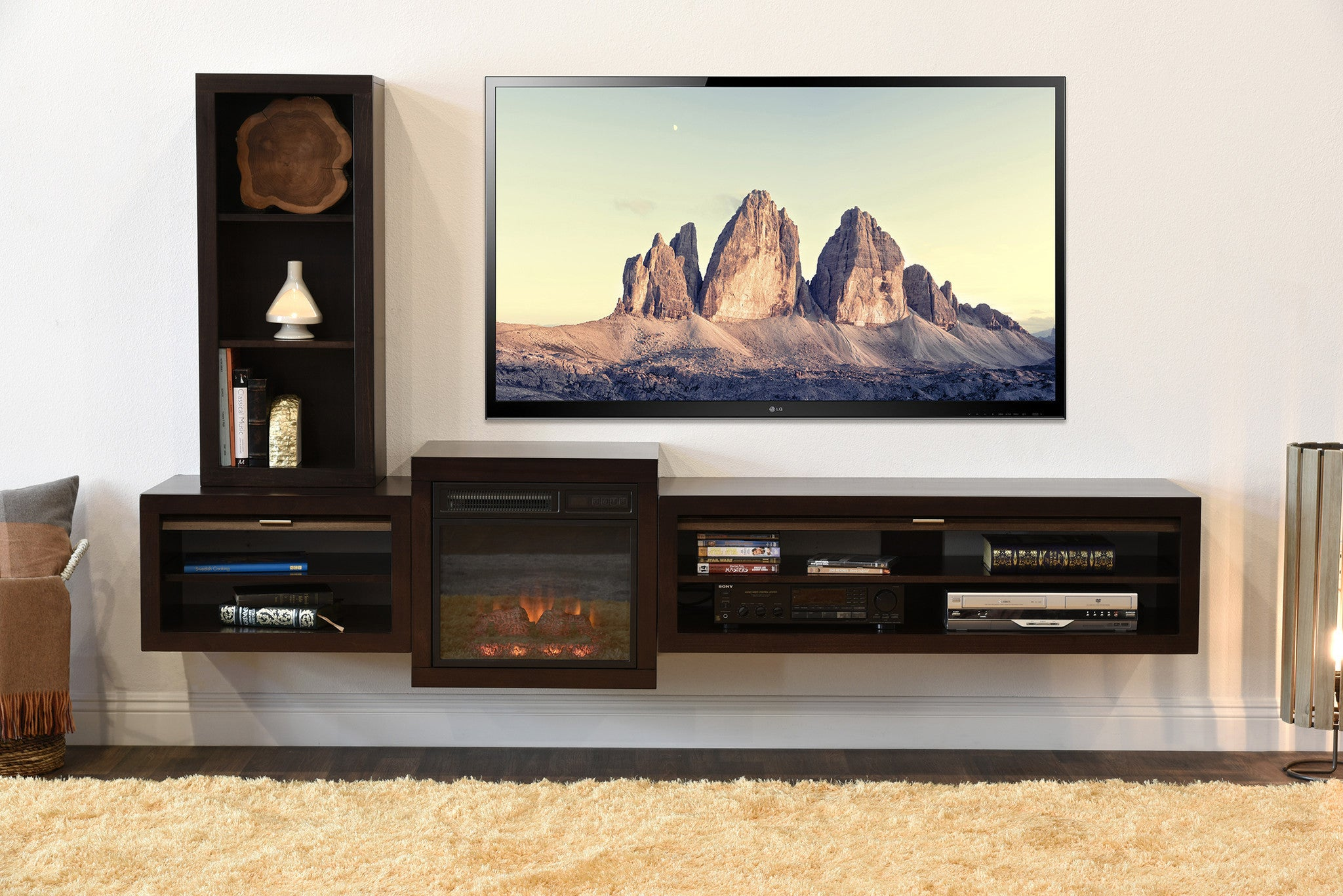 Floating TV Custom Electric Stand With Fireplace Eco Geo Espresso 2048x