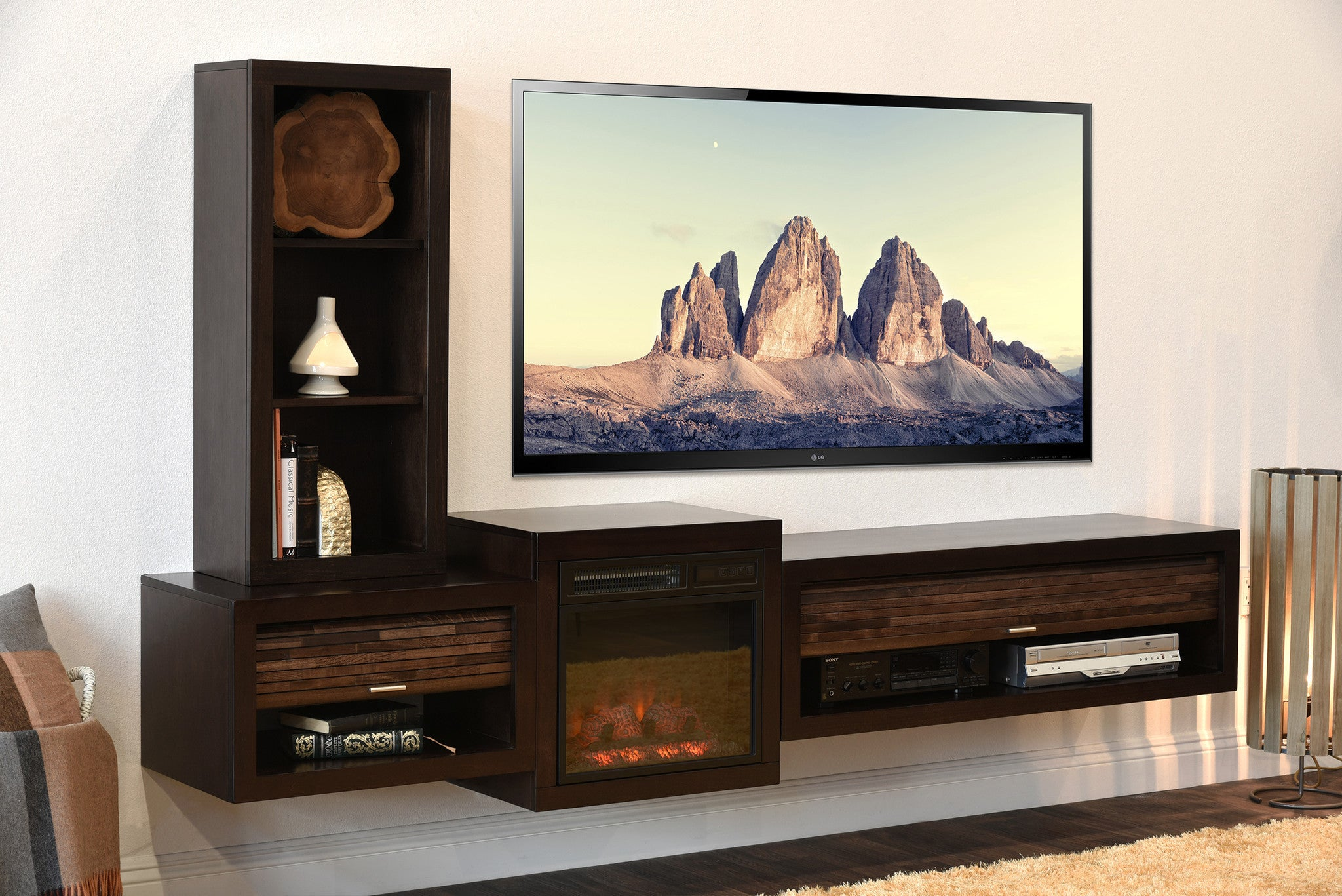 Floating Media Cabinet Curve Mocha 3 Piece Bookcase