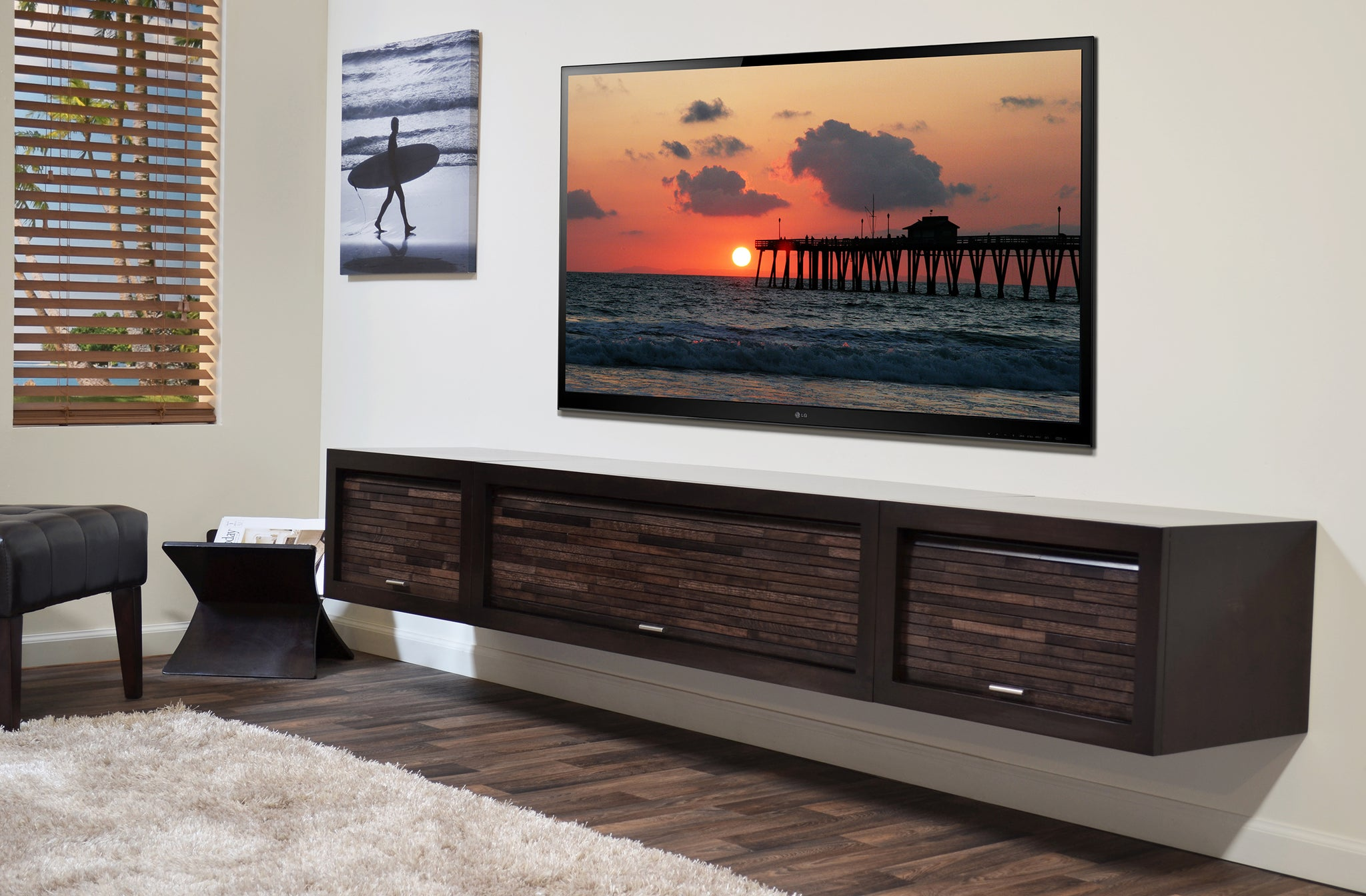 f9bf8aaf3 Floating TV Stand Entertainment Center - ECO GEO Espresso - Woodwaves