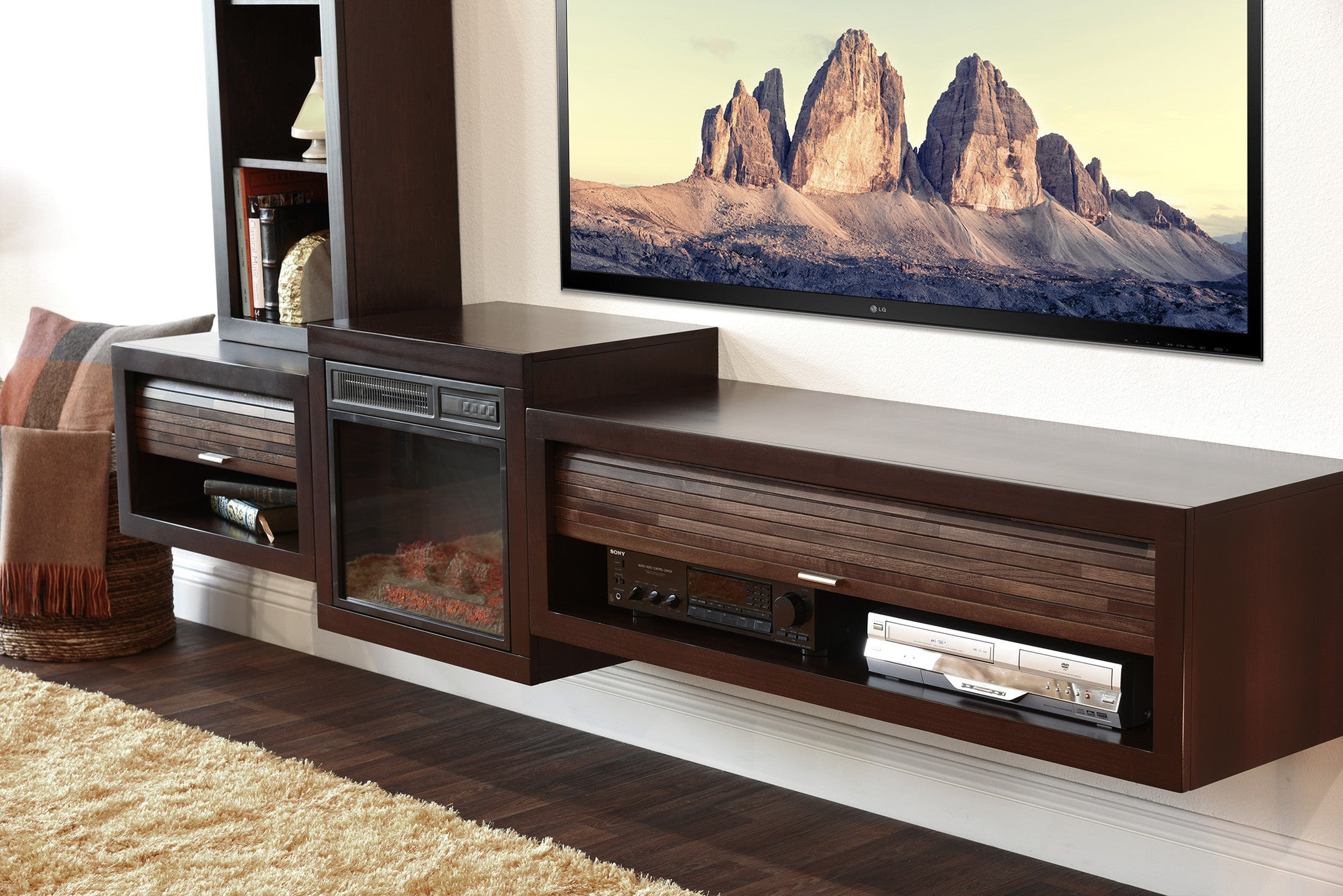 Save $$ With This Bundle! Floating TV Stand With Electric Fireplace The Eco Geo is a unique eco-friendly 4 piece modular entertainment console which is handcrafted of solid Poplar and genuine Maple veneers.   This bundle includes our electric fireplace