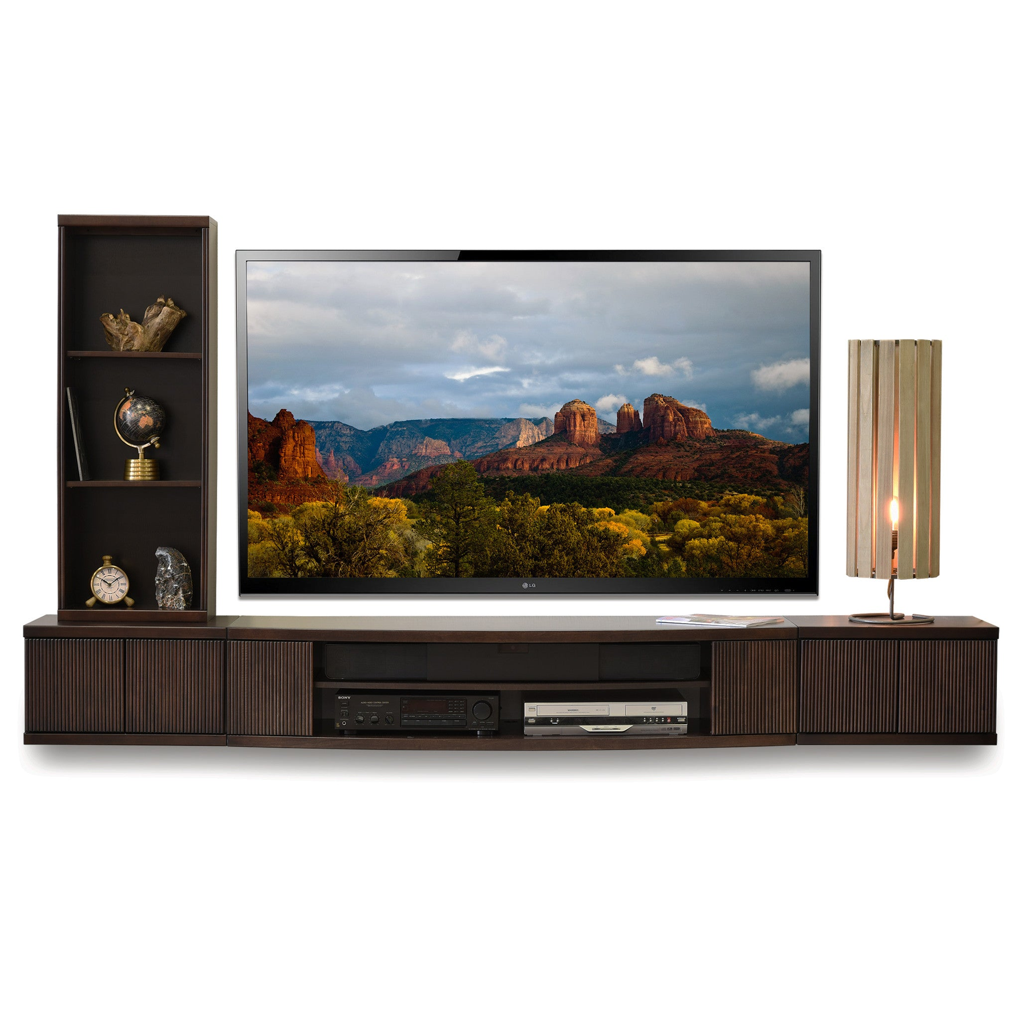 floating wall mount entertainment center tv stand curve 3 piece bo woodwaves. Black Bedroom Furniture Sets. Home Design Ideas