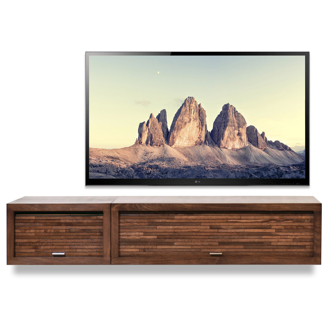 Floating TV Console Hanging Entertainment Center - ECO GEO Mocha 2PC