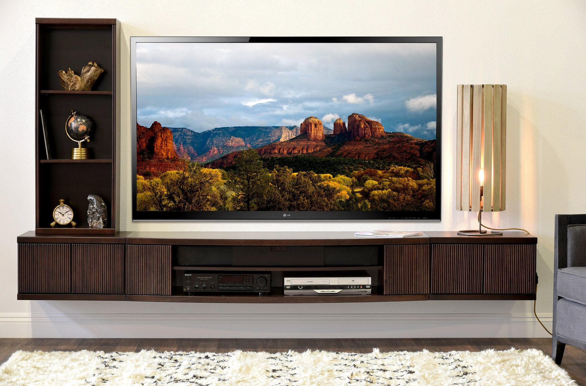 Floating Wall Mount Entertainment Center Tv Stand Curve 3 Piece Bookcase Espresso