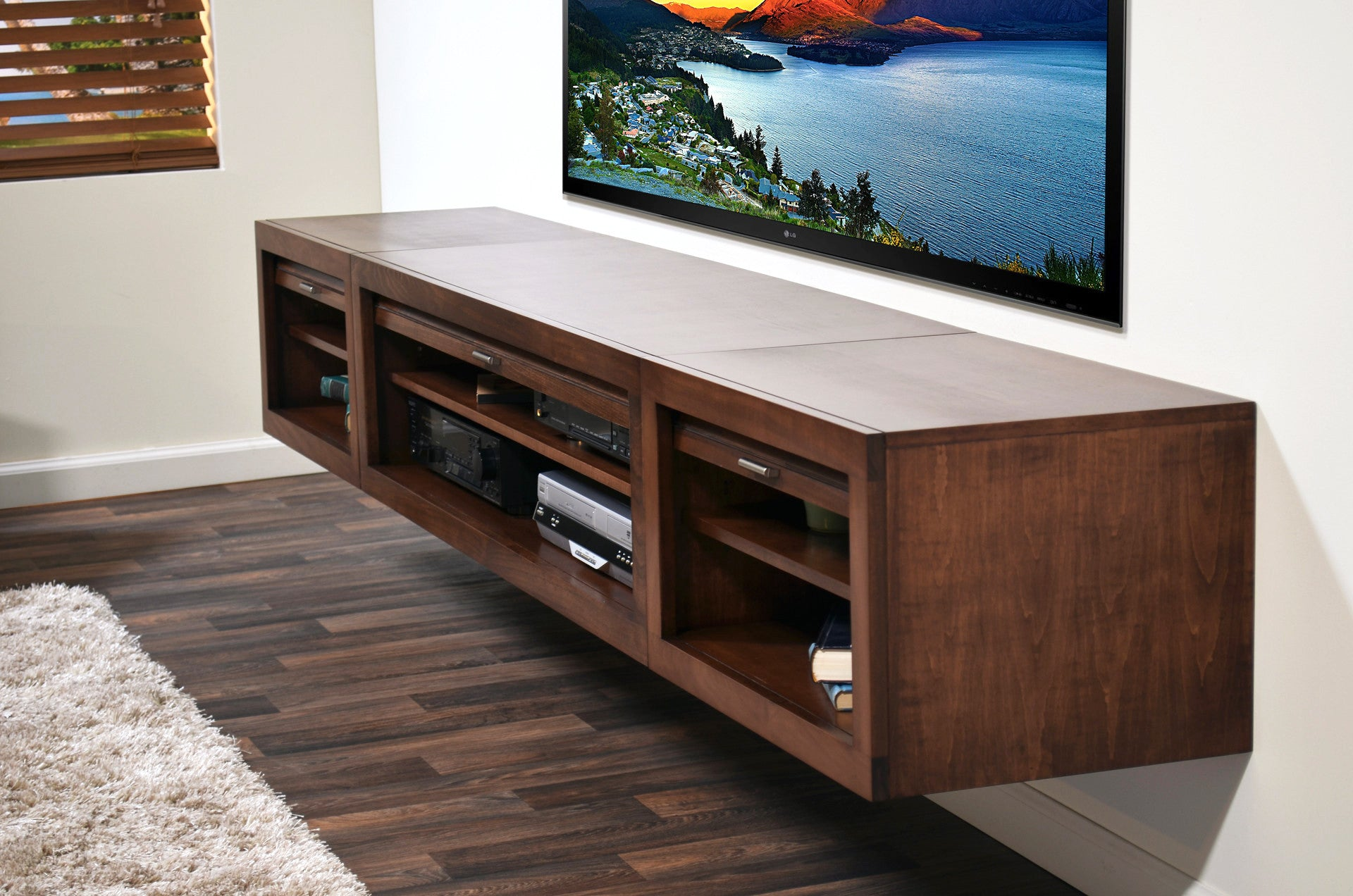 Image of: Wall Mounted Floating Tv Stand Entertainment Center Eco Geo Mocha Woodwaves